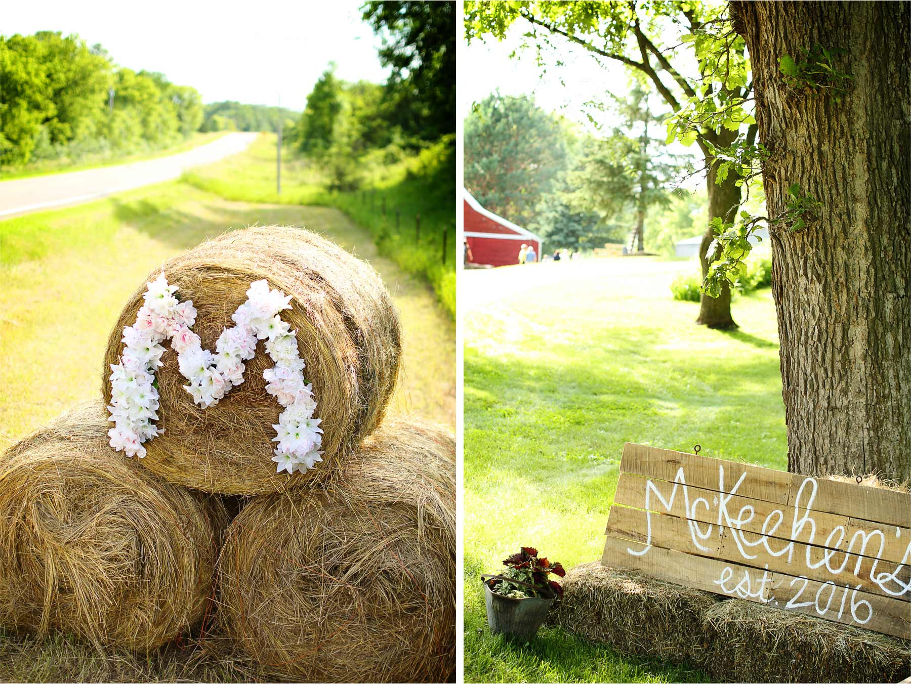 08-South-Haven-Minnesota-Wedding-Photographer-by-Andrew-Vick-Photography-Summer-Tomala-Farm-Welcome-Sign-Flowers-Hay-Bale-Details-Decorations-Renee-and-Bobb.jpg