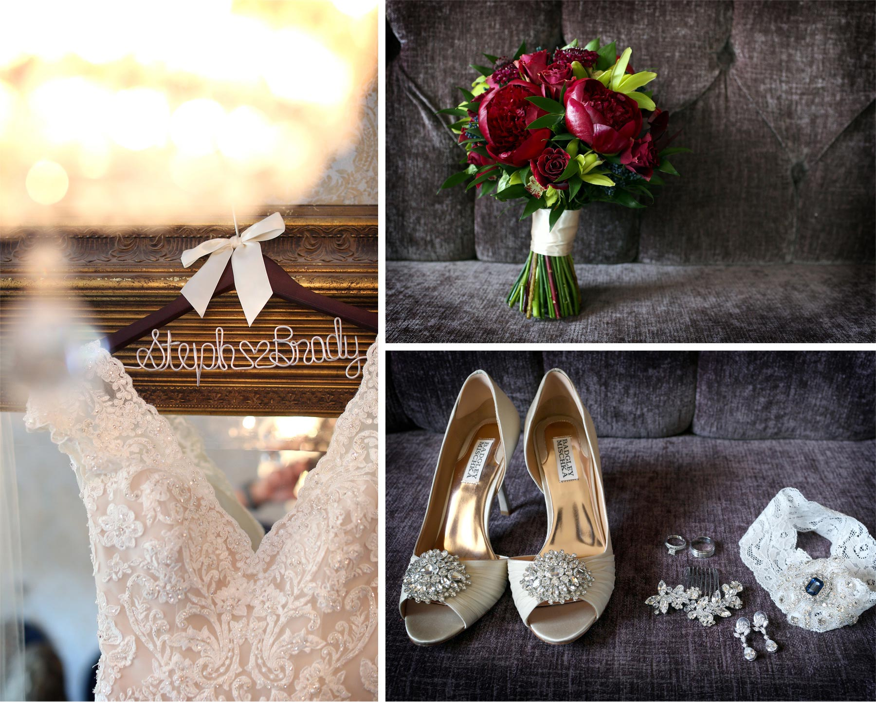 01-Minneapolis-Minnesota-Wedding-Photographer-by-Andrew-Vick-Photography-Summer-Semple-Mansion-Getting-Ready-Dress-Hanger-Flowers-Shoes-Jewelry-Rings-Earrings-Hair-Pin-Clip-Garter-Stephanie-and-Brady.jpg