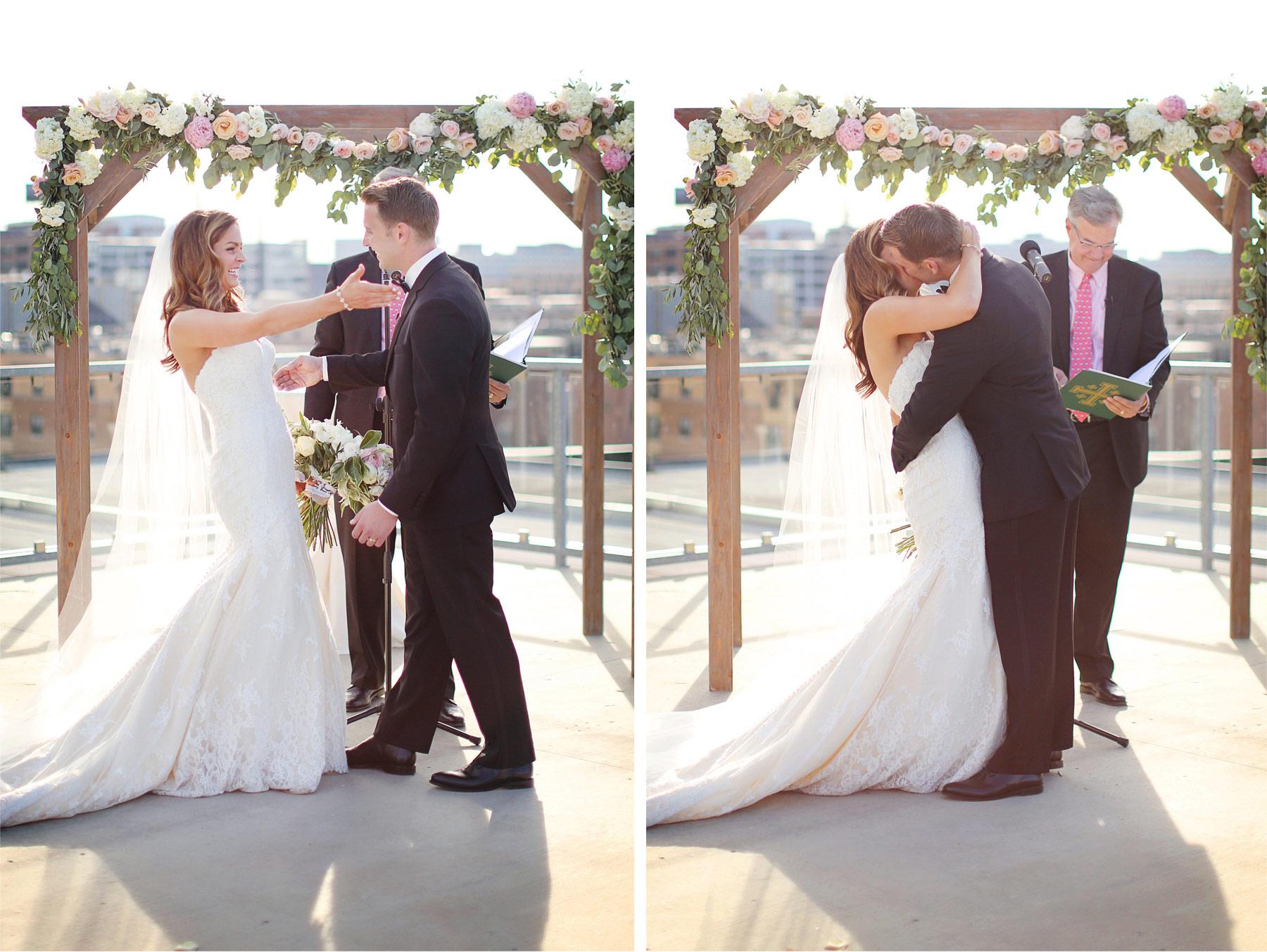 19-Saint-Paul-Minnesota-Wedding-Photographer-by-Andrew-Vick-Photography-Summer-Abulae-Ceremony-Bride-Groom-Kiss-Dress-Molly-and-Dan.jpg