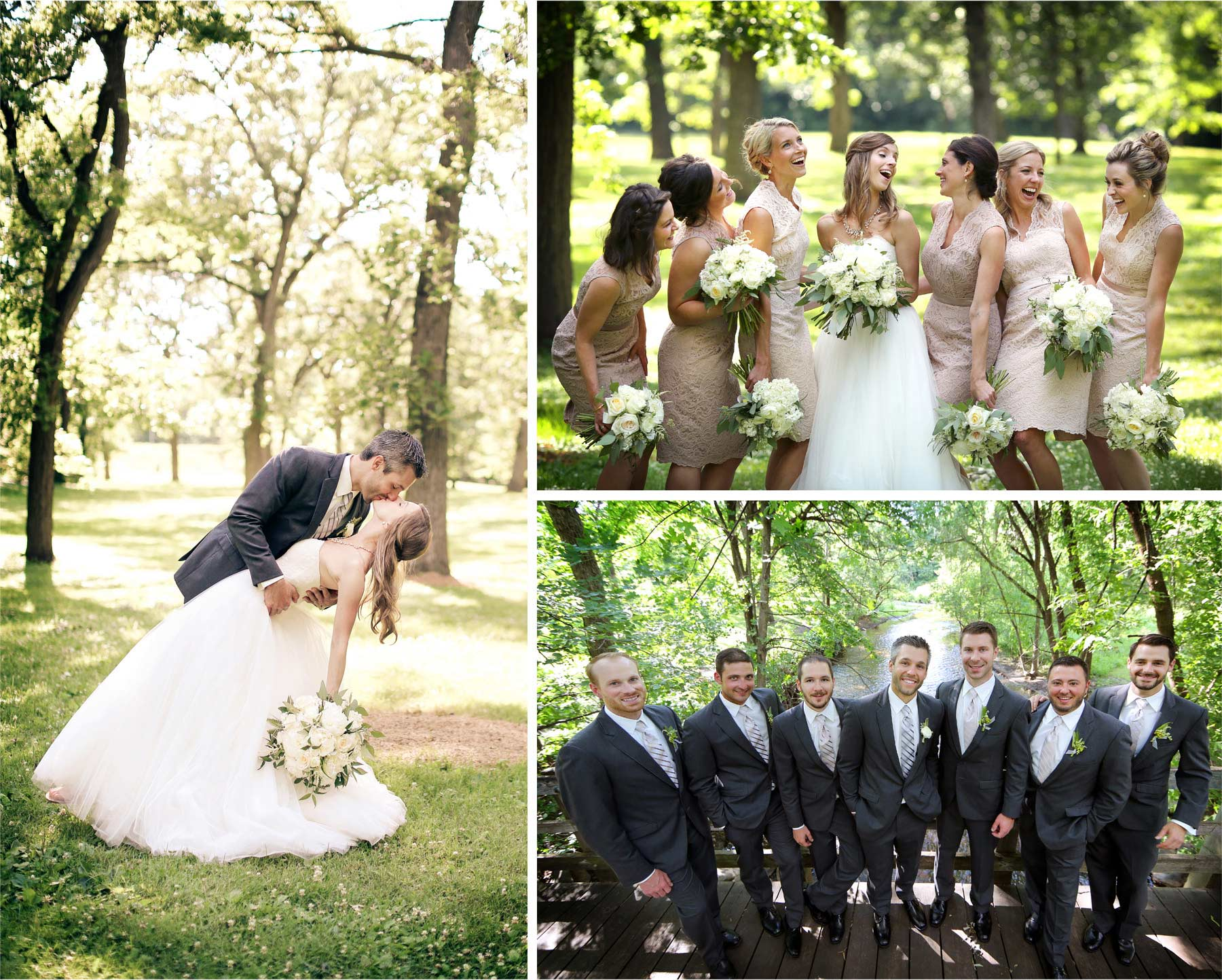 12-Minneapolis-Minnesota-Wedding-Photographer-by-Andrew-Vick-Photography-Summer-Woods-Bride-Groom-Dip-Kiss-Bridesmaids-Laughter-Groomsmen-Bridal-Party-Vintage-Katie-and-Travis.jpg
