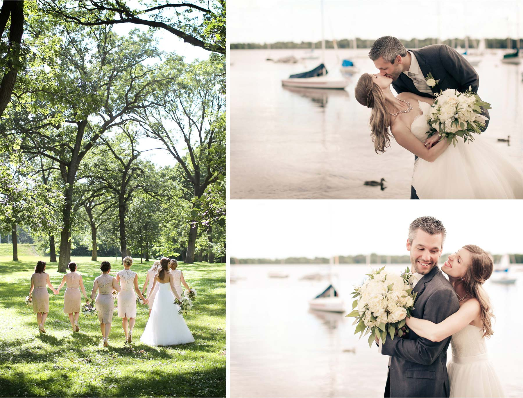 14-Minneapolis-Minnesota-Wedding-Photographer-by-Andrew-Vick-Photography-Summer-Woods-Lake-Harriet-Bride-Groom-Bridesmaids-Kiss-Dip-Embrace-Vintage-Katie-and-Travis.jpg