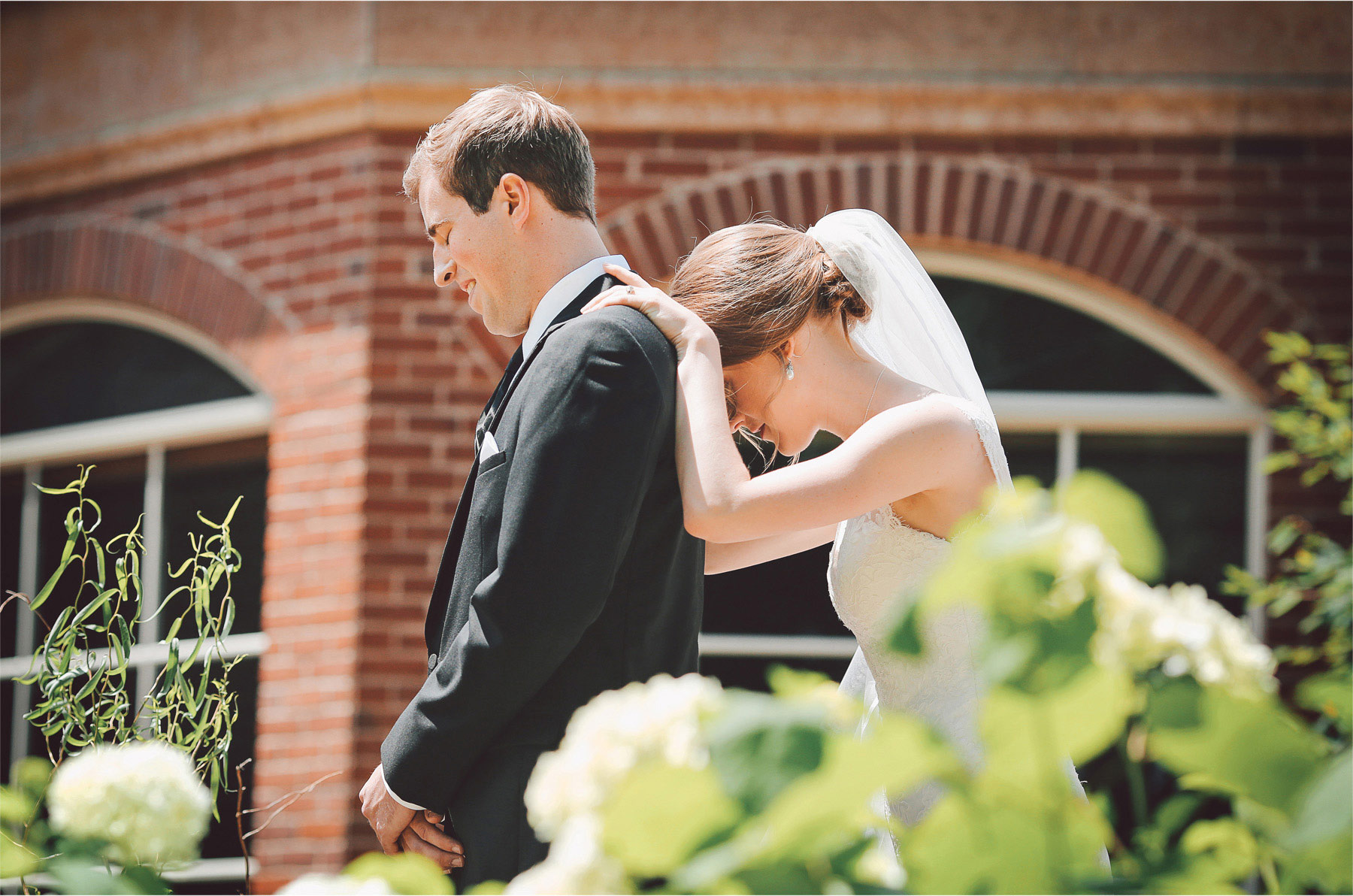 04-Edina-Minnesota-Wedding-Photographer-by-Andrew-Vick-Photography-Summer-Our-Lady-of-Grace-Catholic-Parish-Church-Bride-Groom-First-Look-Meeting-Embrace-Vintage-Betsy-and-Jon.jpg
