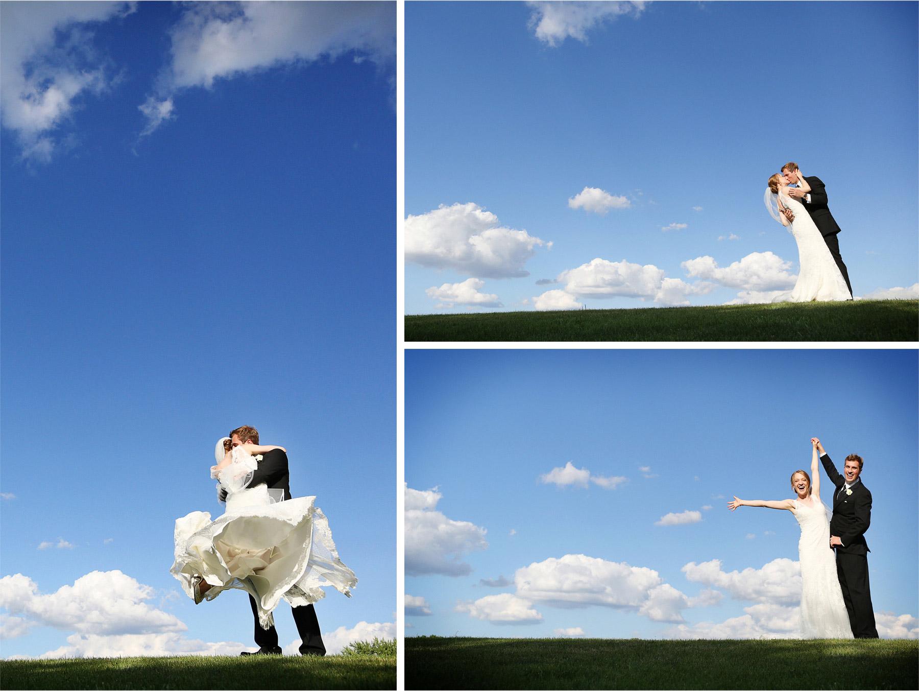 21-Edina-Minnesota-Wedding-Photographer-by-Andrew-Vick-Photography-Summer-Bride-Groom-Kiss-Twirl-Dress-Blue-Sky-Excitement-Vintage-Betsy-and-Jon.jpg