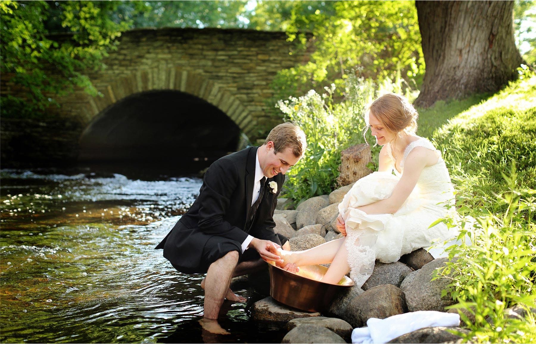 22-Edina-Minnesota-Wedding-Photographer-by-Andrew-Vick-Photography-Summer-Bride-Groom-Ceremonial-Foot-Washing-Creek-Betsy-and-Jon.jpg