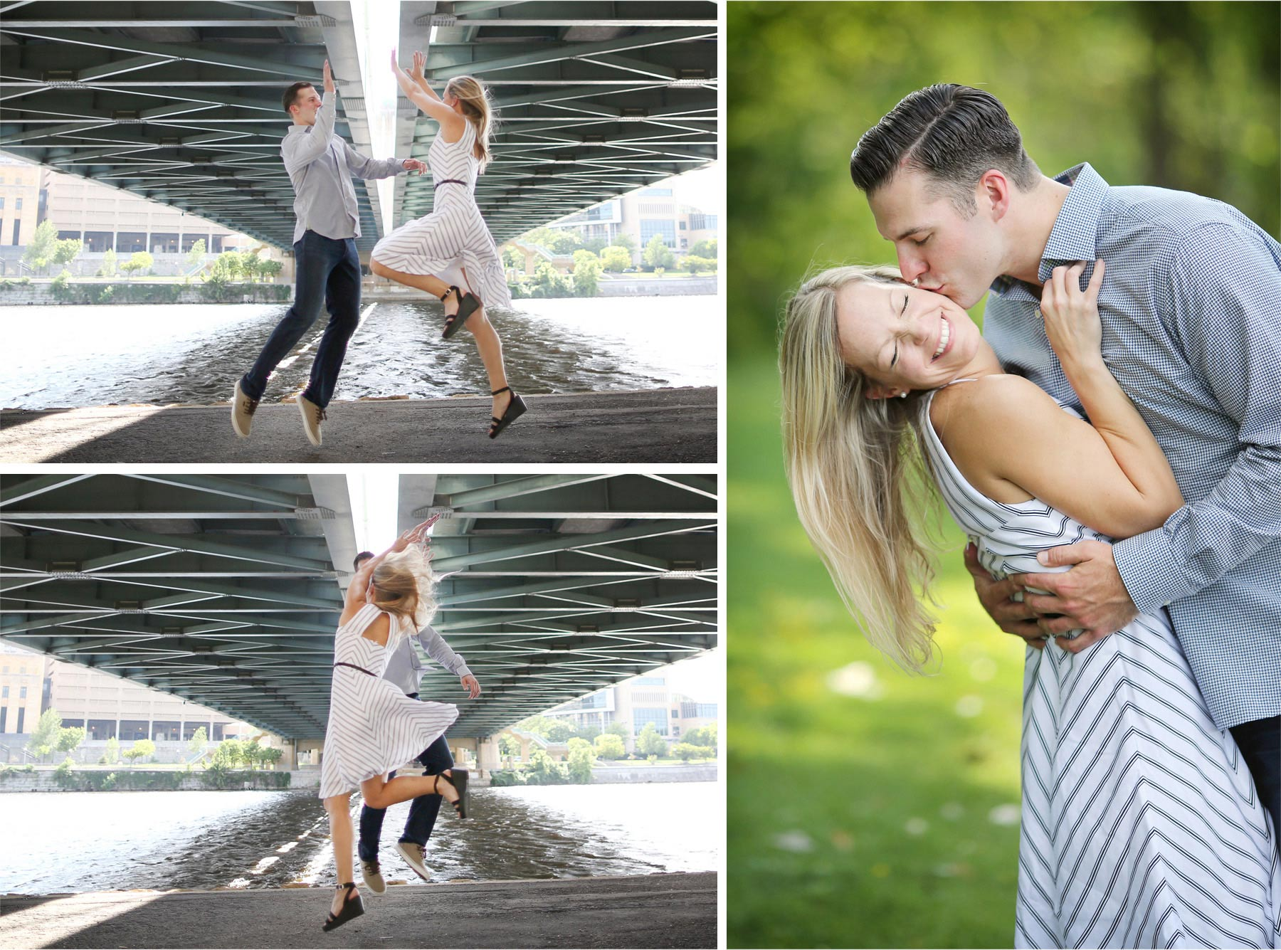 03-Minneapolis-Minnesota-Engagement-Photographer-by-Andrew-Vick-Photography-Summer-Mississippi-River-Hennepin-Avenue-Bridge-Jumping-High-Five-Kiss-Tina-and-Kevin.jpg