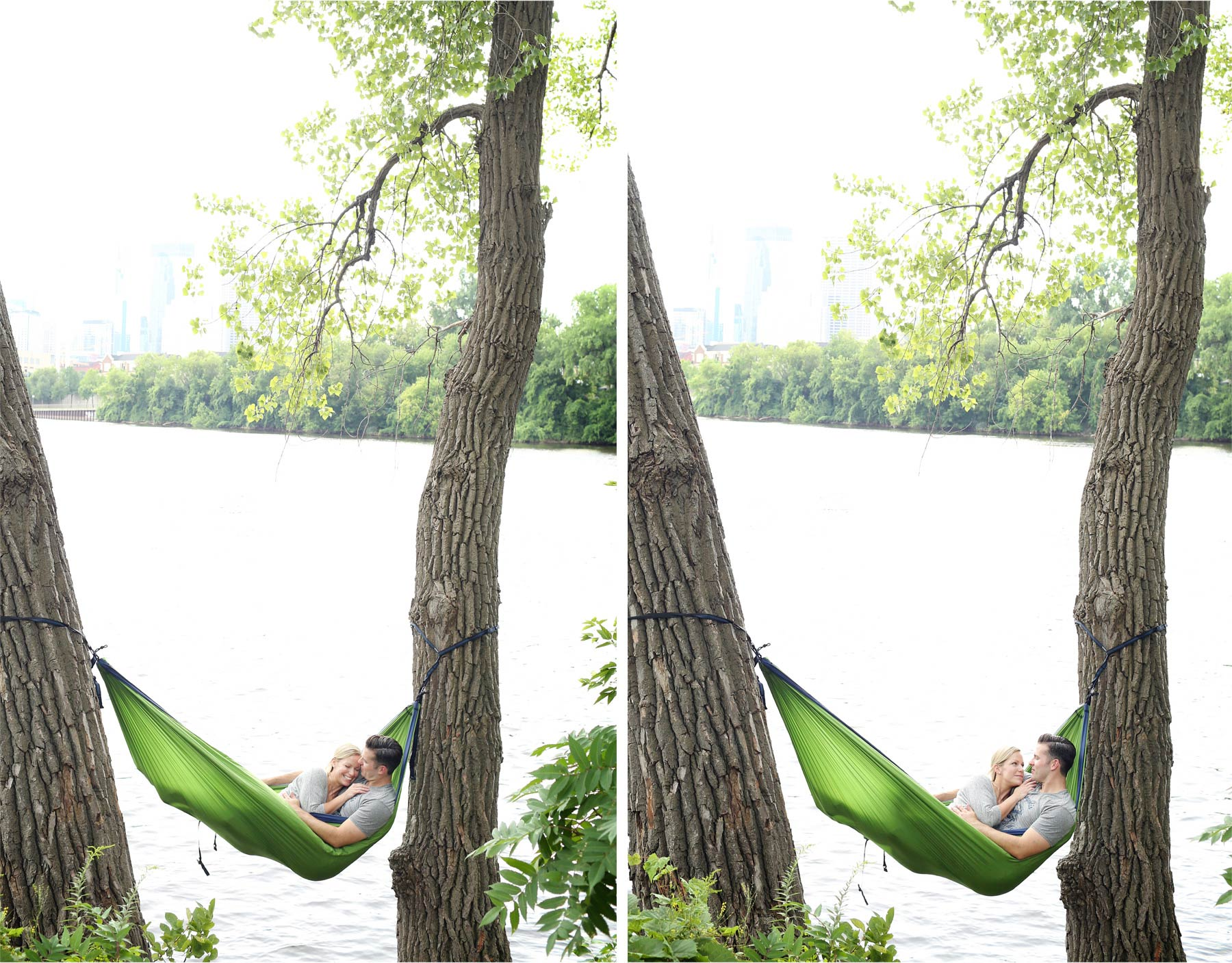 11-Minneapolis-Minnesota-Engagement-Photographer-by-Andrew-Vick-Photography-Summer-Mississippi-River-Hammock-Embrace-Cuddling-Tina-and-Kevin.jpg