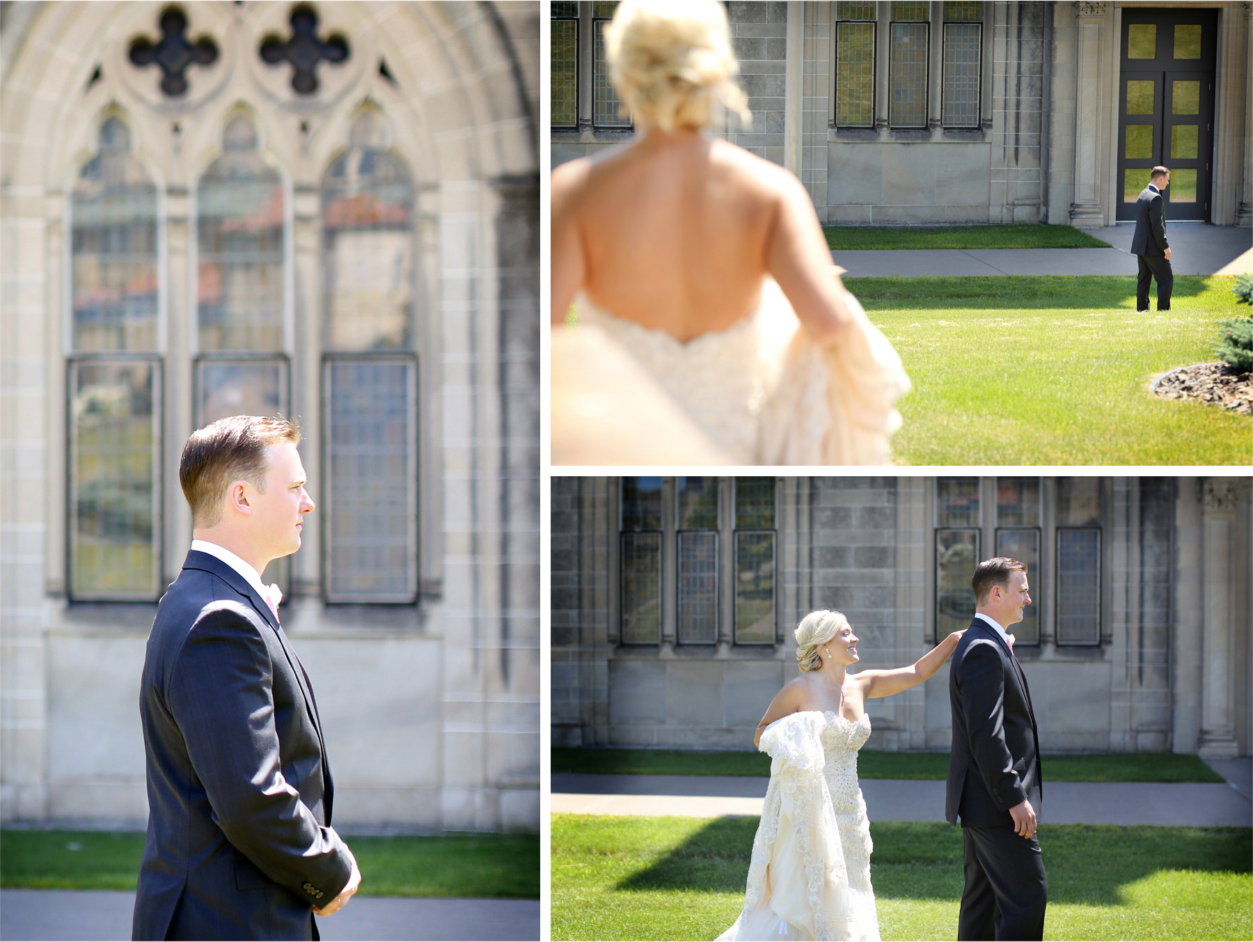 05-Duluth-Minnesota-Wedding-Photographer-by-Andrew-Vick-Photography-Summer-Cathedral-of-Our-Lady-of-the-Rosary-Church-First-Meeting-Bride-Groom-Courtyard-Lindsey-and-Adam.jpg