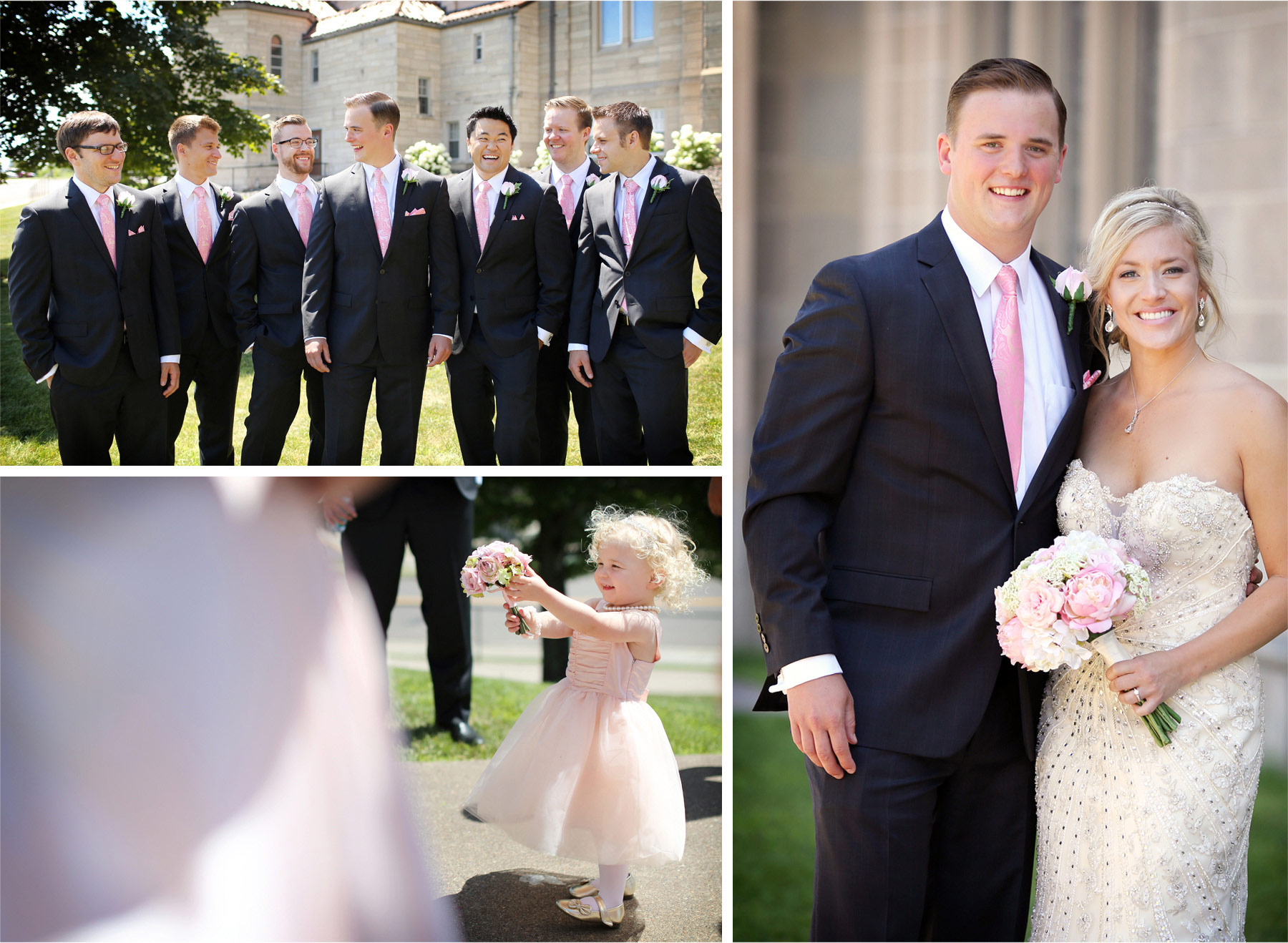 07-Duluth-Minnesota-Wedding-Photographer-by-Andrew-Vick-Photography-Summer-Cathedral-of-Our-Lady-of-the-Rosary-Church--Courtyard-Bride-Groom-Groomsmen-Flower-Girl-Lindsey-and-Adam.jpg