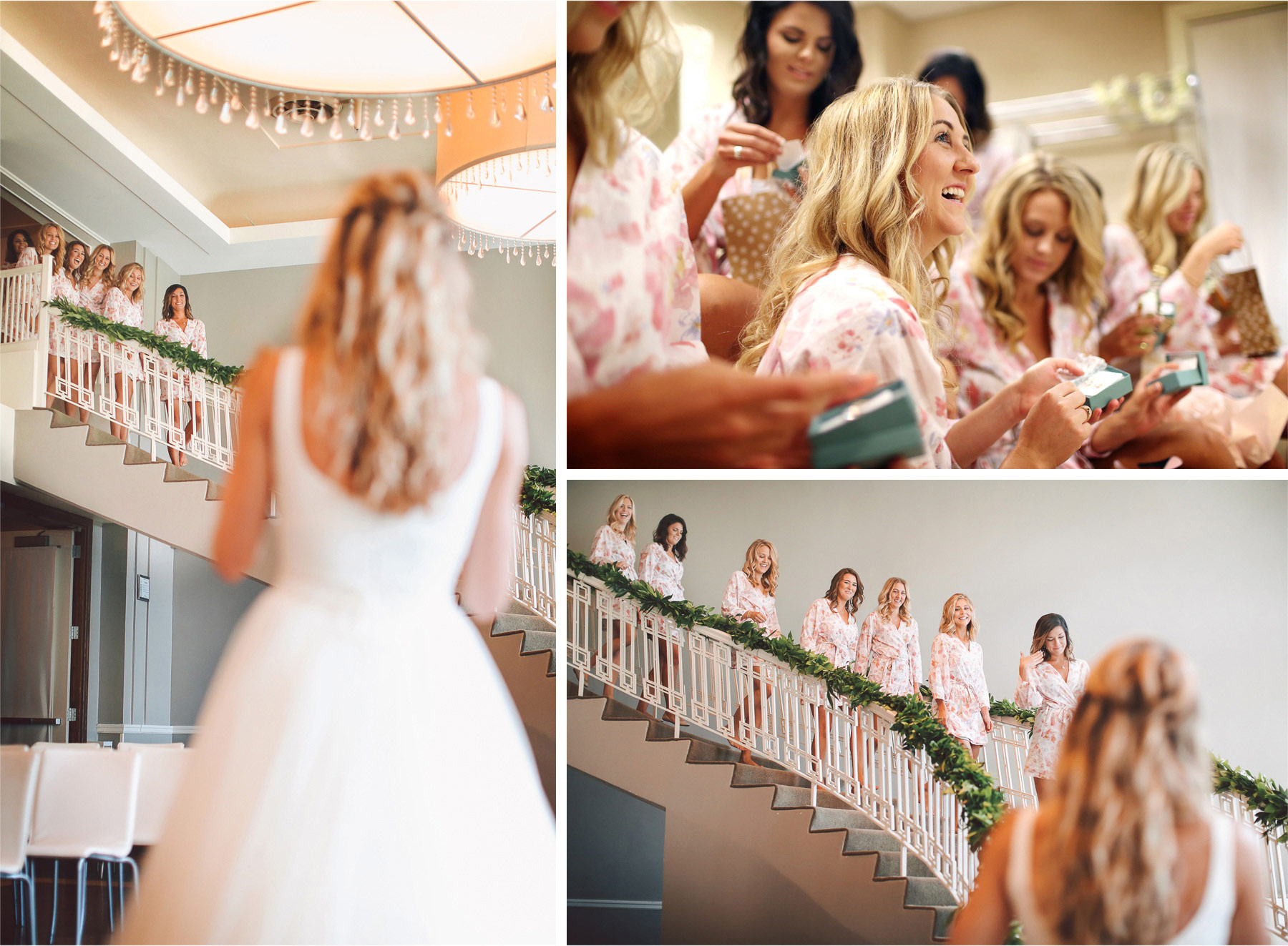 02-Minneapolis-Minnesota-Wedding-Photographer-by-Andrew-Vick-Photography-Summer-Calhoun-Beach-Club-Getting-Ready-Bride-Bridesmaids-Reveal-Staircase-Stairs-Gifts-Earrings-Tiffany-Lexie-and-James.jpg