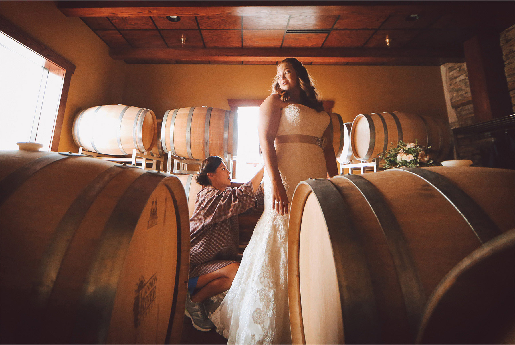 02-Cannon-Falls-Minnesota-Wedding-Photographer-by-Andrew-Vick-Photography-Summer-River-Winery-Getting-Ready-Bride-Bridesmaid-Dress-Wine-Barrels-Vintage-Becca-and-Donal.jpg