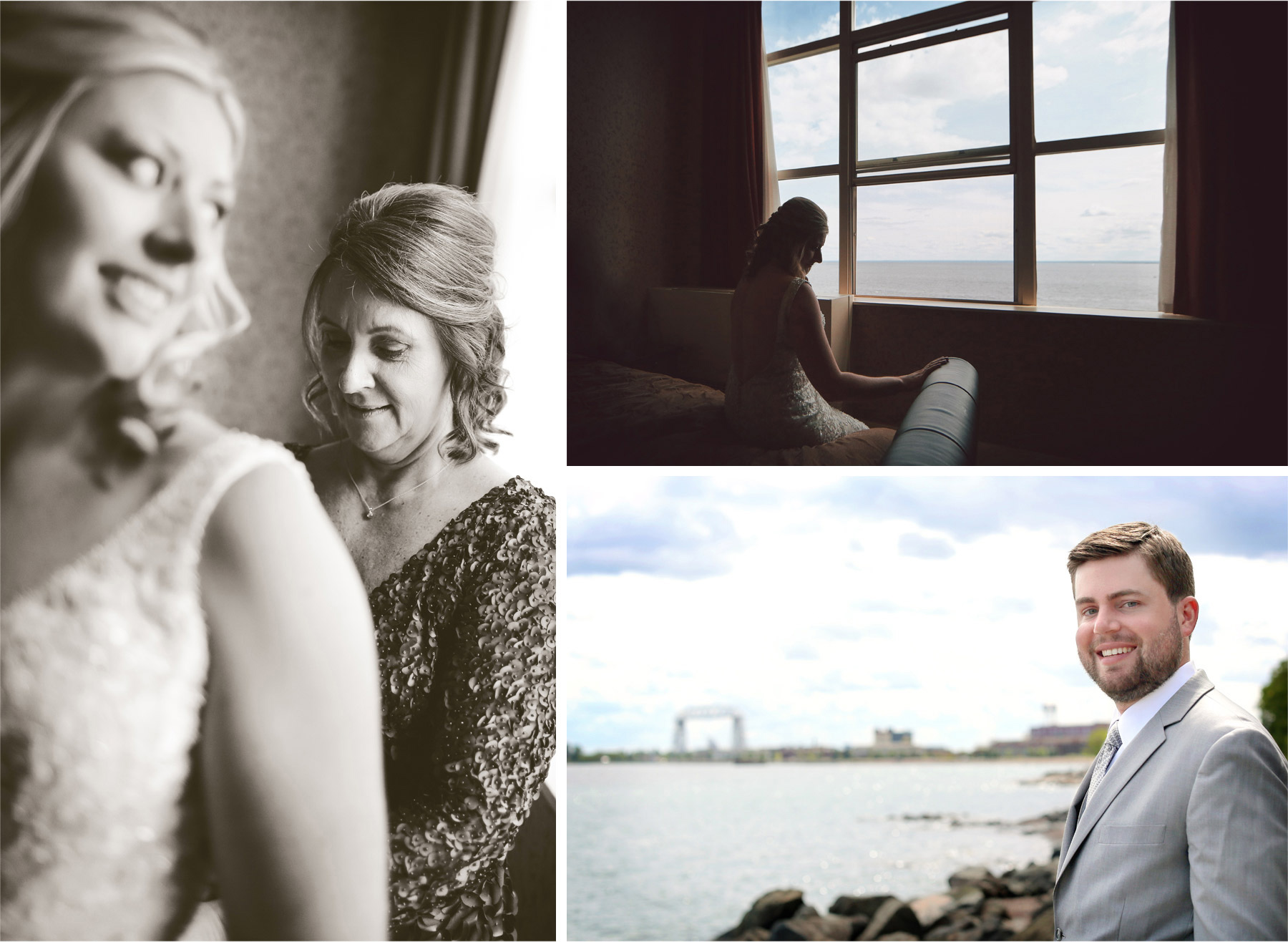 02-Duluth-Minnesota-Wedding-Photographer-by-Andrew-Vick-Photography-Summer-Sheraton-Hotel-Getting-Ready-Bride-Mother-Dress-Sepia-Groom-Lake-Superior-Aerial-Lift-Bridge-Katie-and-Andrew.jpg