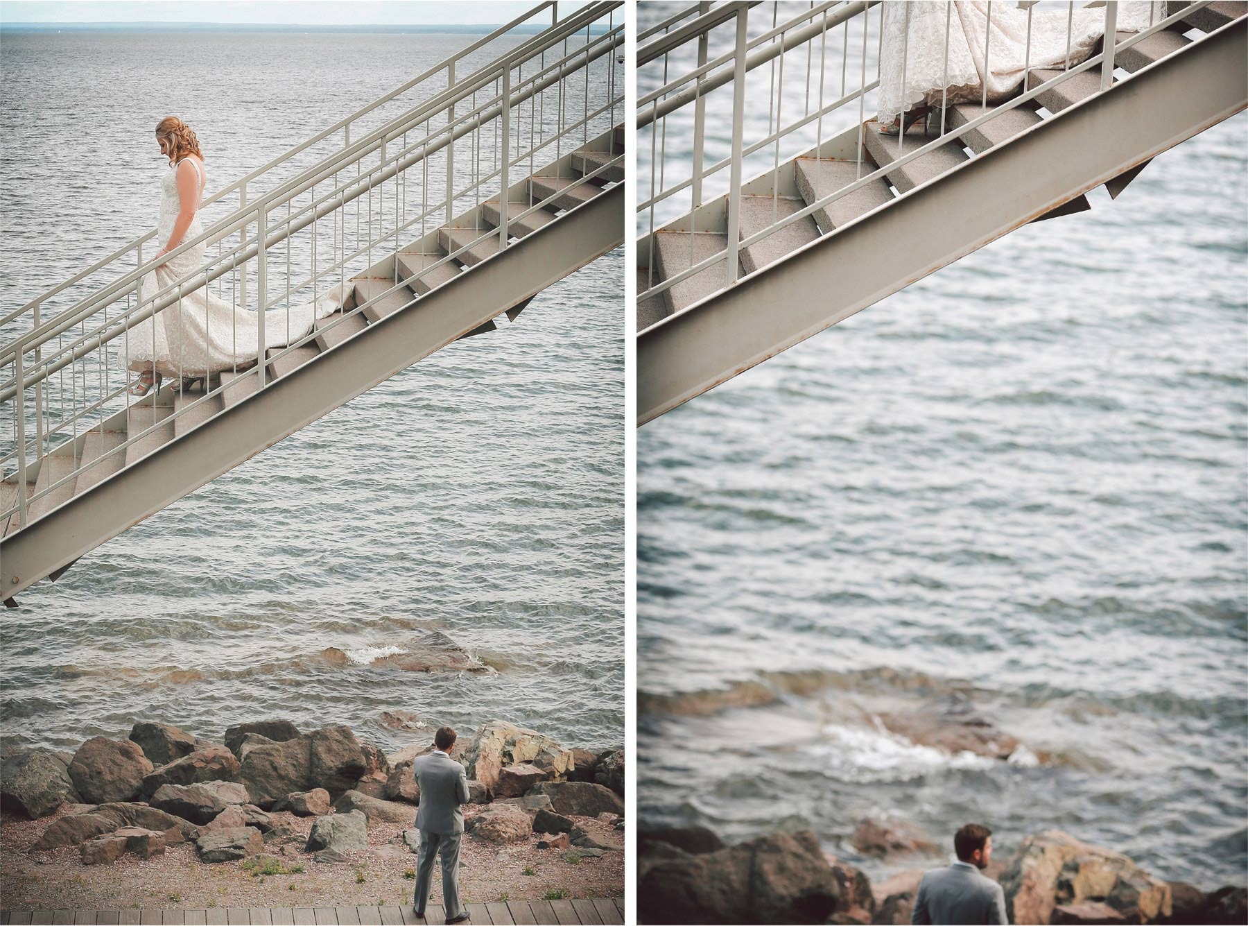 04-Duluth-Minnesota-Wedding-Photographer-by-Andrew-Vick-Photography-Summer-Bride-Groom-First-Meeting-Look-Lake-Superior-Vintage-Katie-and-Andrew.jpg