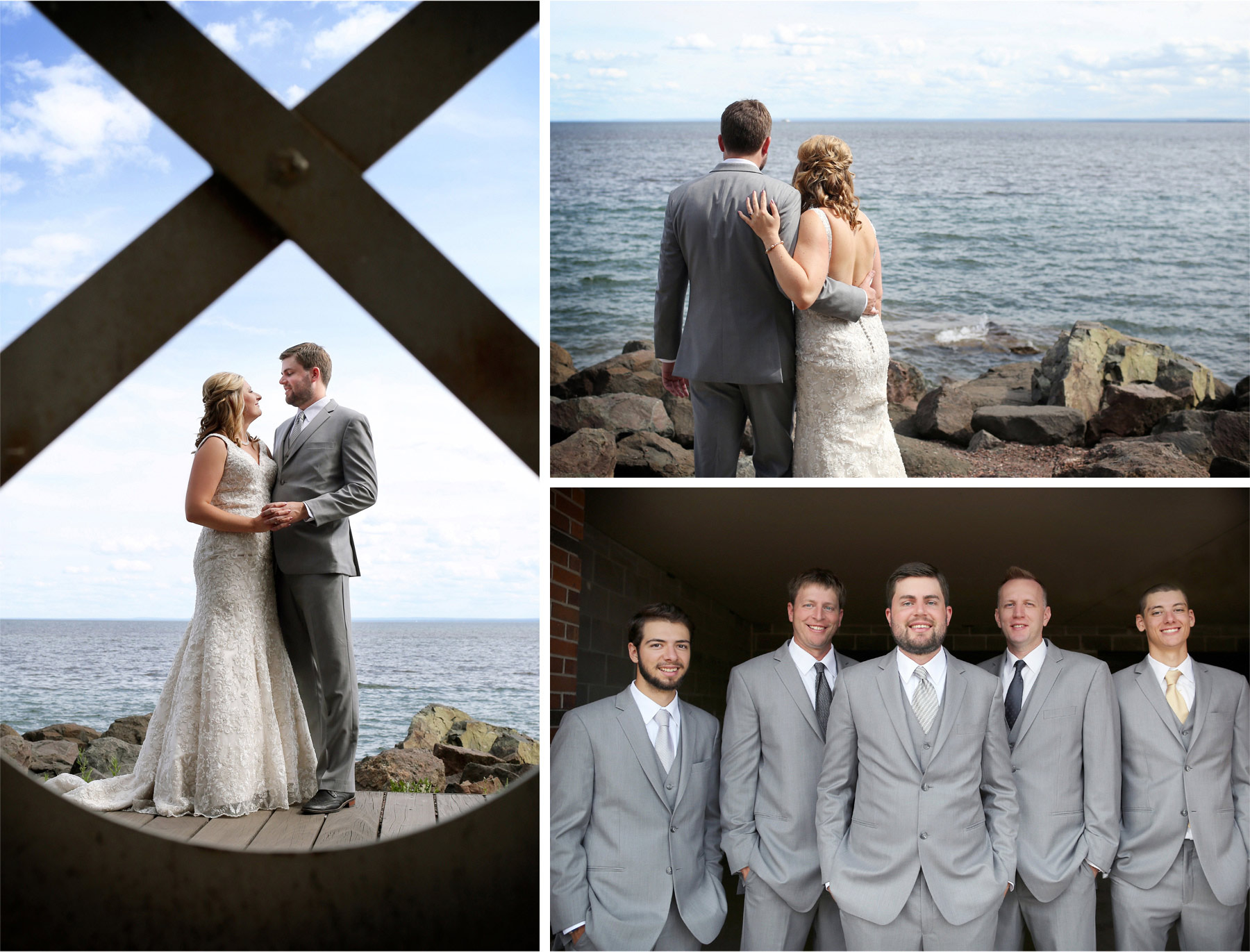 06-Duluth-Minnesota-Wedding-Photographer-by-Andrew-Vick-Photography-Summer-Bride-Groom-First-Meeting-Look-Lake-Superior-Groomsmen-Katie-and-Andrew.jpg