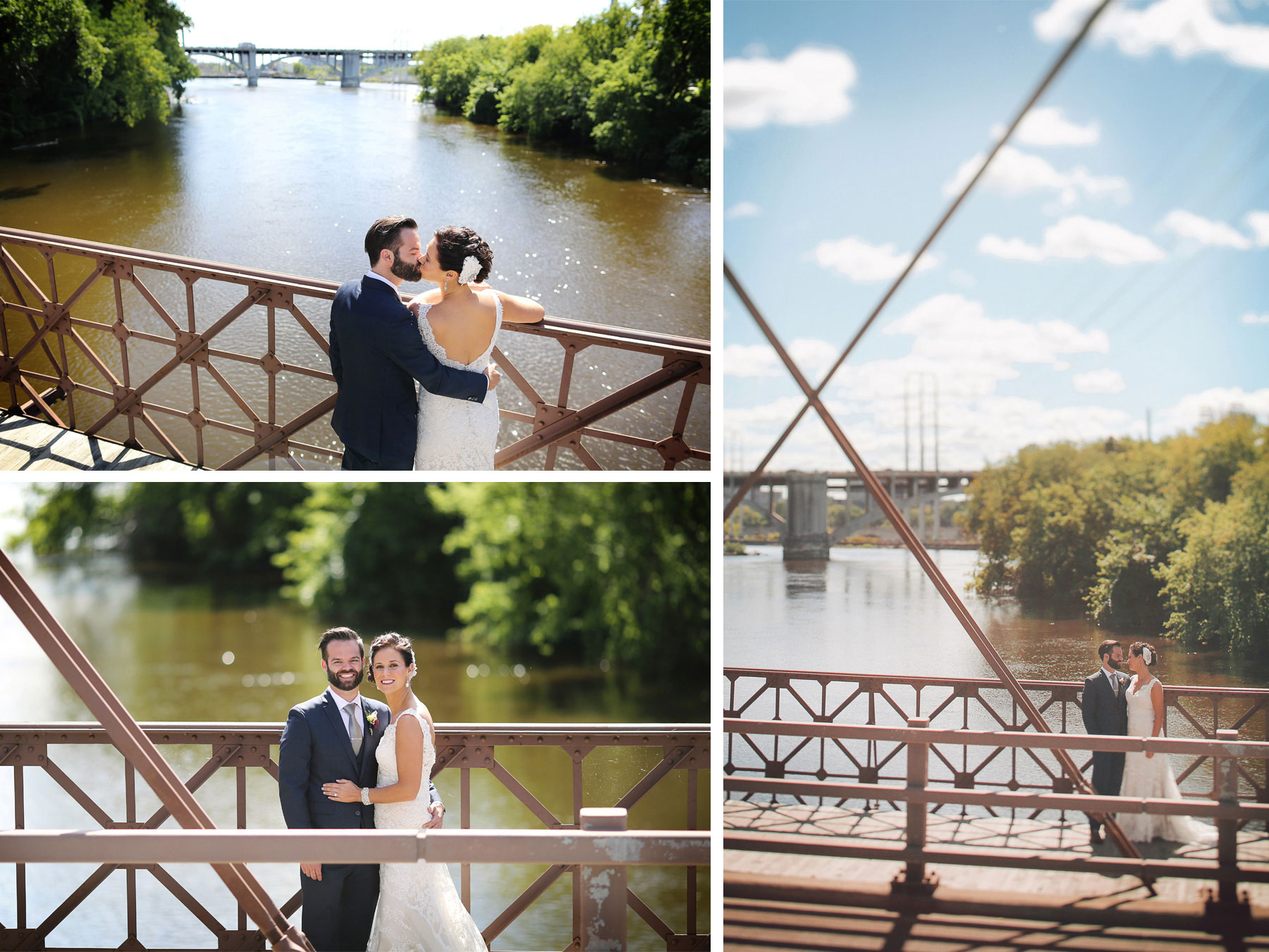 08-Minneapolis-Minnesota-Wedding-Photographer-by-Andrew-Vick-Photography-Summer-First-Meeting-Look-Bride-Groom-Merriam-Street-Bridge-Mississippi-River-Kiss-Vintage-Ashley-and-Eric.jpg
