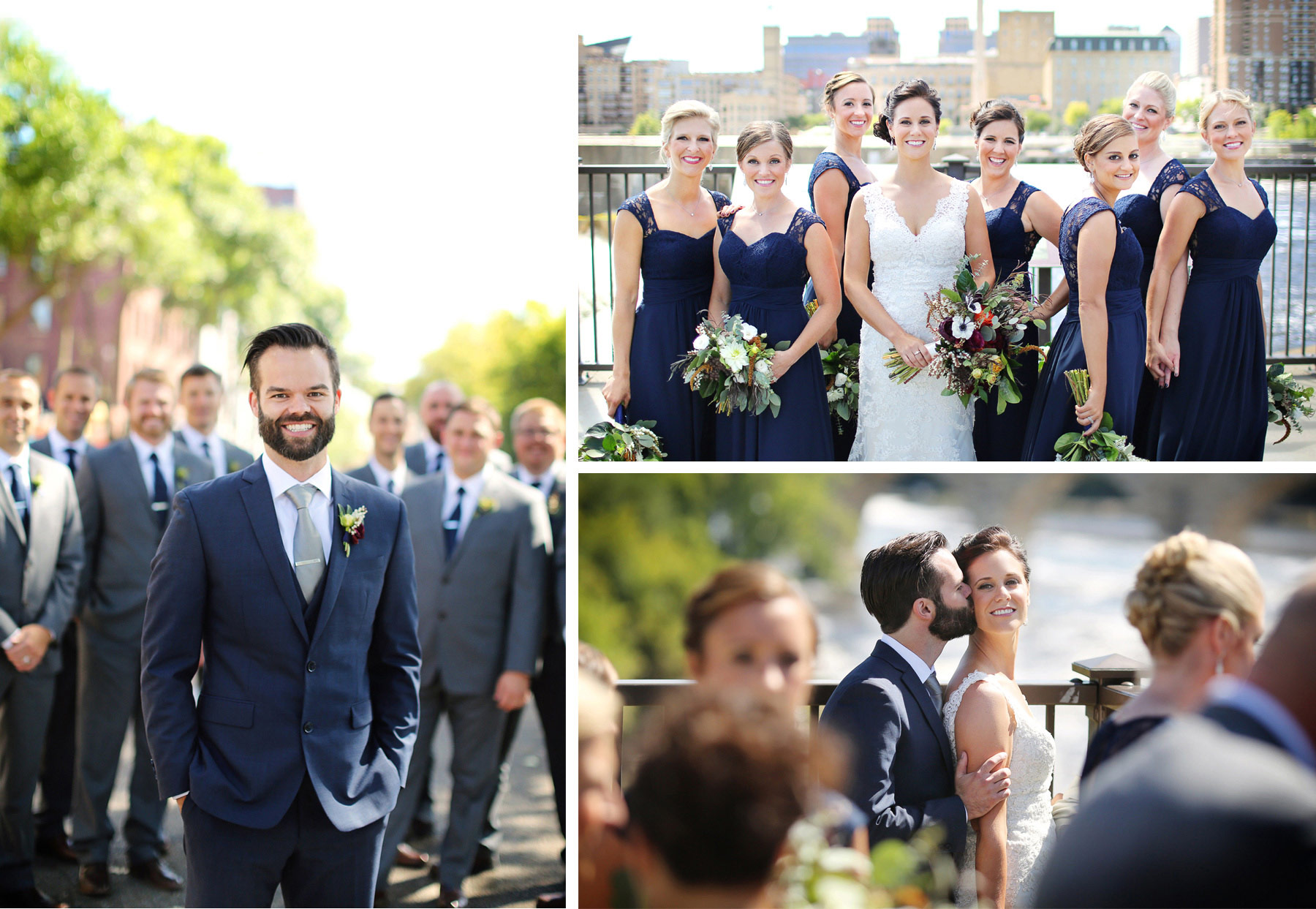 10-Minneapolis-Minnesota-Wedding-Photographer-by-Andrew-Vick-Photography-Summer-First-Meeting-Look-Bride-Groom-Bridal-Party-Bridesmaids-Groomsmen-Mississippi-River-Kiss-Flowers-Ashley-and-Eric.jpg