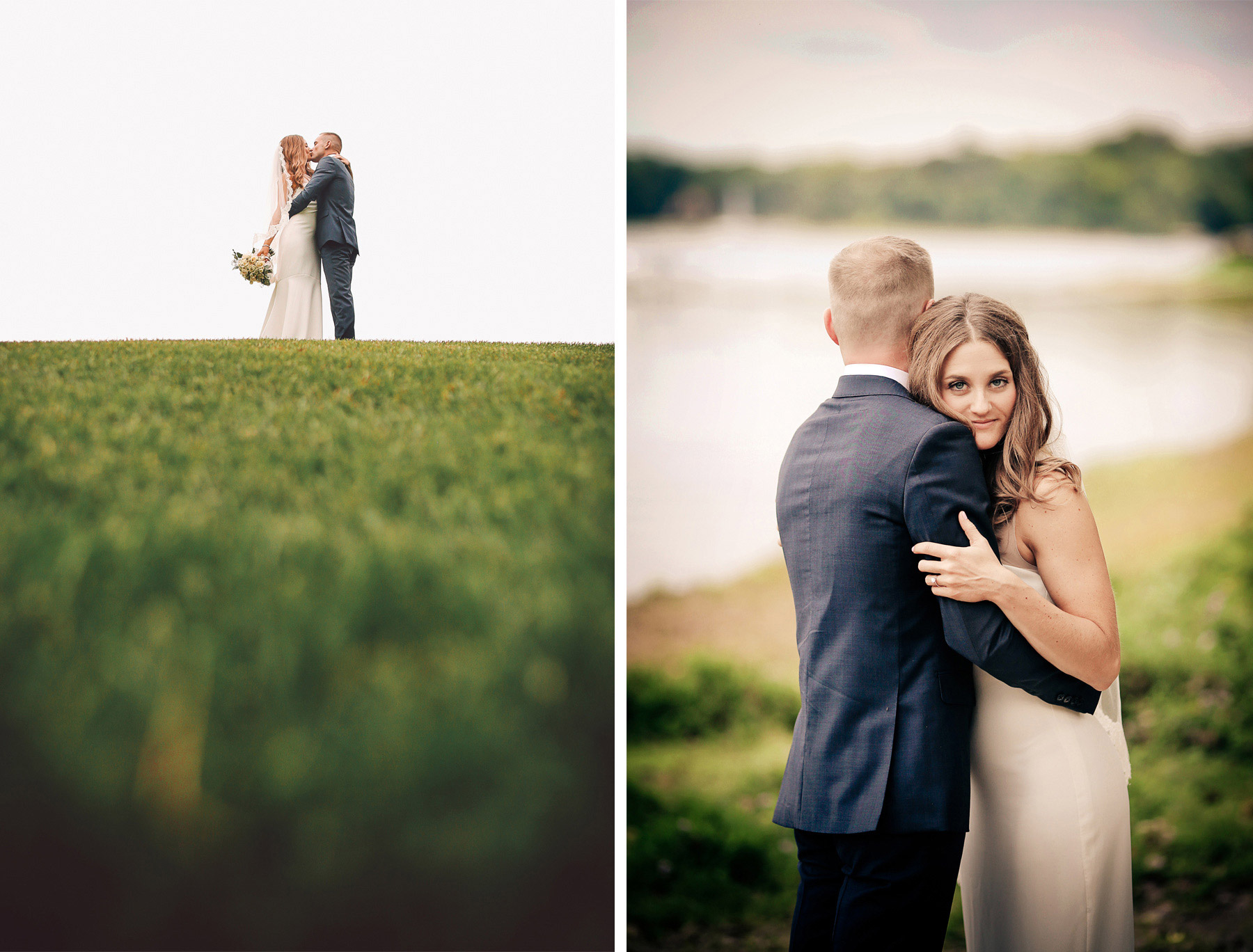 11-Dellwood-Minnesota-Wedding-Photographer-by-Andrew-Vick-Photography-Summer-Country-Club-First-Meeting-Look-Bride-Groom-Embrace-Kiss-Vintage-Sarah-and-Landon.jpg
