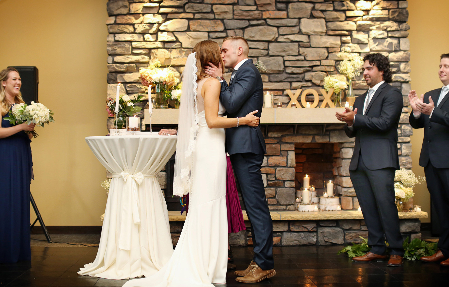 19-Dellwood-Minnesota-Wedding-Photographer-by-Andrew-Vick-Photography-Summer-Country-Club-Ceremony-Bride-Groom-Kiss-Sarah-and-Landon.jpg