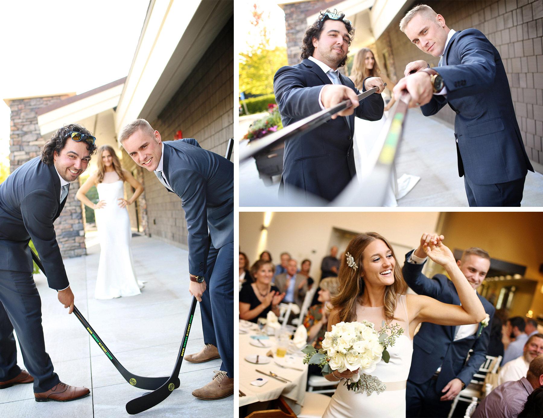 20-Dellwood-Minnesota-Wedding-Photographer-by-Andrew-Vick-Photography-Summer-Country-Club-Reception-Bride-Groom-Grand-March-Hockey-Sticks-Groomsmen-Sarah-and-Landon.jpg