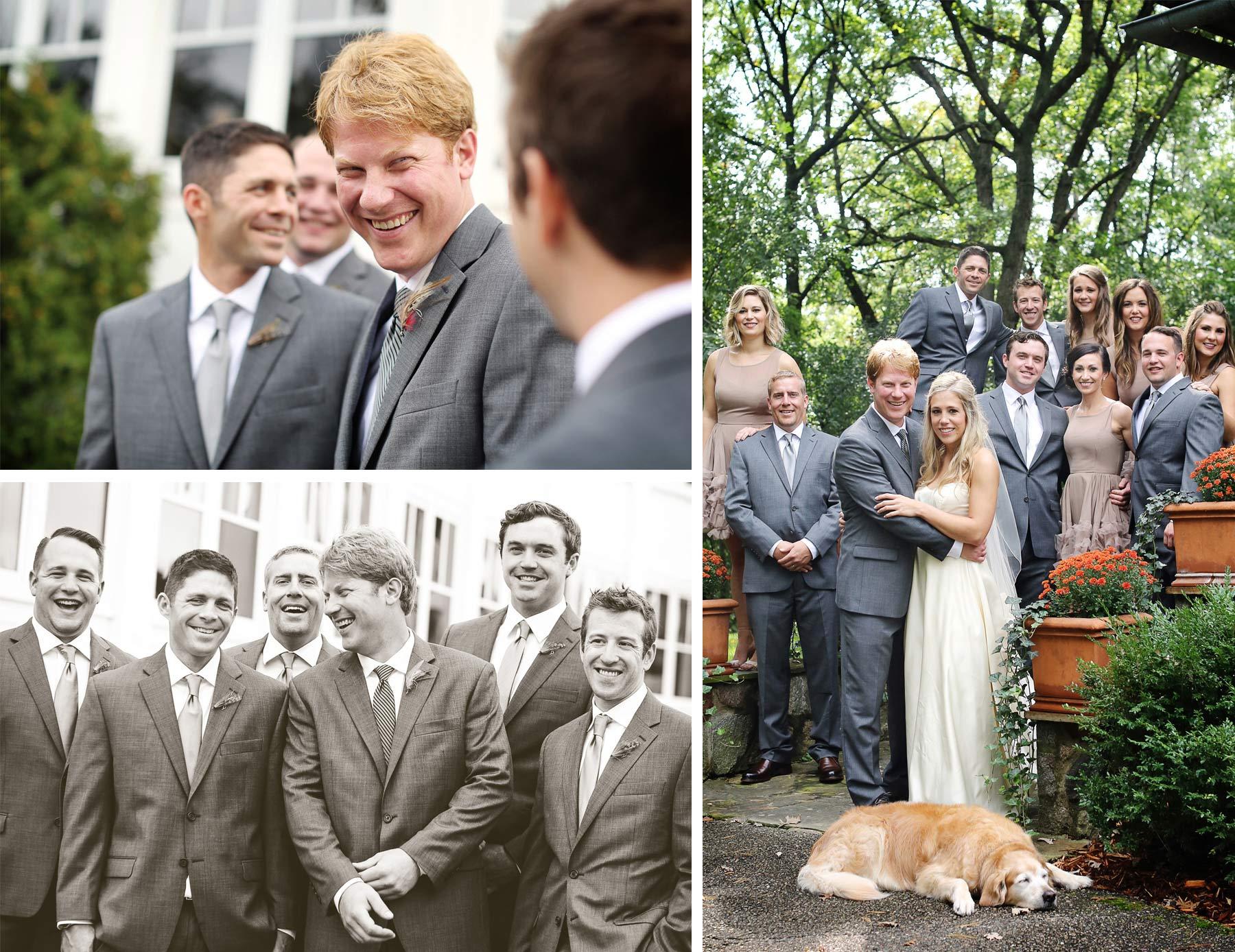 10-Minneapolis-Minnesota-Wedding-Photographer-by-Andrew-Vick-Photography-Fall-Autumn-Parents-House-Bride-Groom-Groomsmen-Bridesmaids-Bridal-Party-Dog-Minikahda-Club-Sepia-Krissy-and-James.jpg