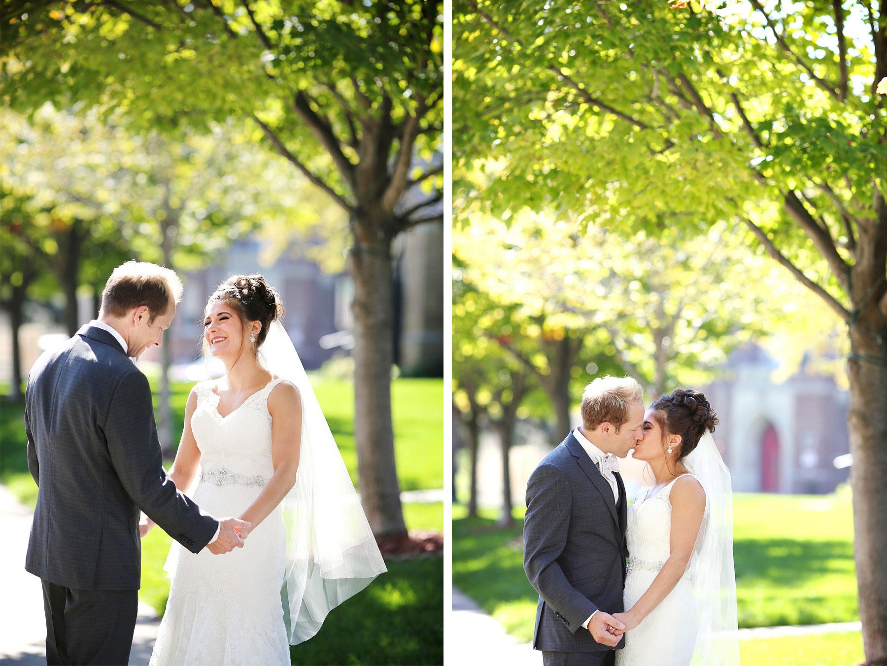 03-Saint-Louis-Park-Minnesota-Wedding-Photographer-by-Andrew-Vick-Photography-Fall-Autumn-Holy-Family-Catholic-Church-First-Meeting-Look-Bride-Groom-Kiss-Paula-and-Jason.jpg