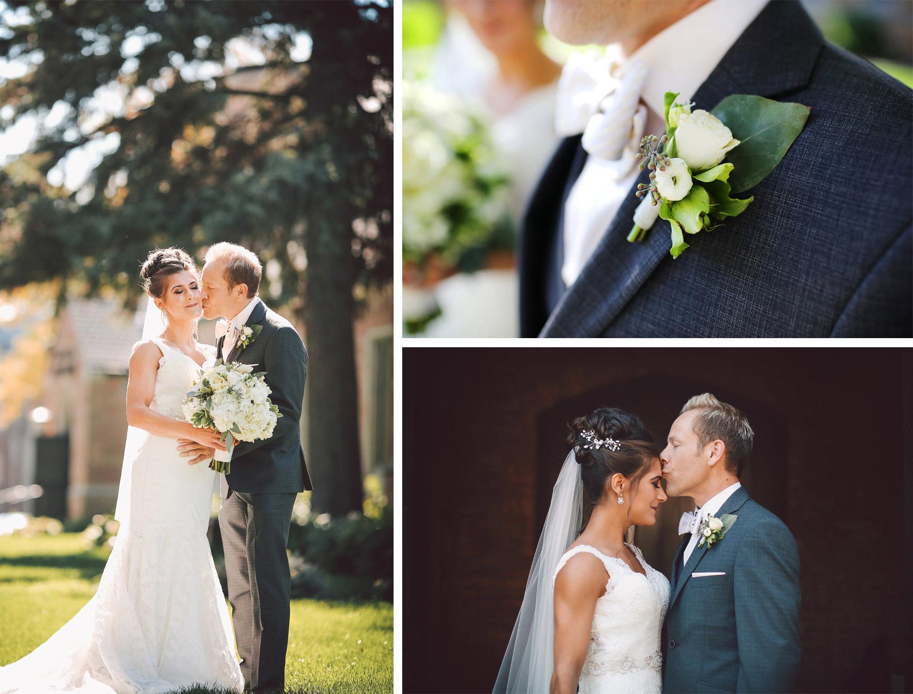 04-Saint-Louis-Park-Minnesota-Wedding-Photographer-by-Andrew-Vick-Photography-Fall-Autumn-Holy-Family-Catholic-Church-First-Meeting-Look-Bride-Groom-Forehead-Kiss-Boutonniere-Flowers-Vintage-Paula-and-Jason.jpg