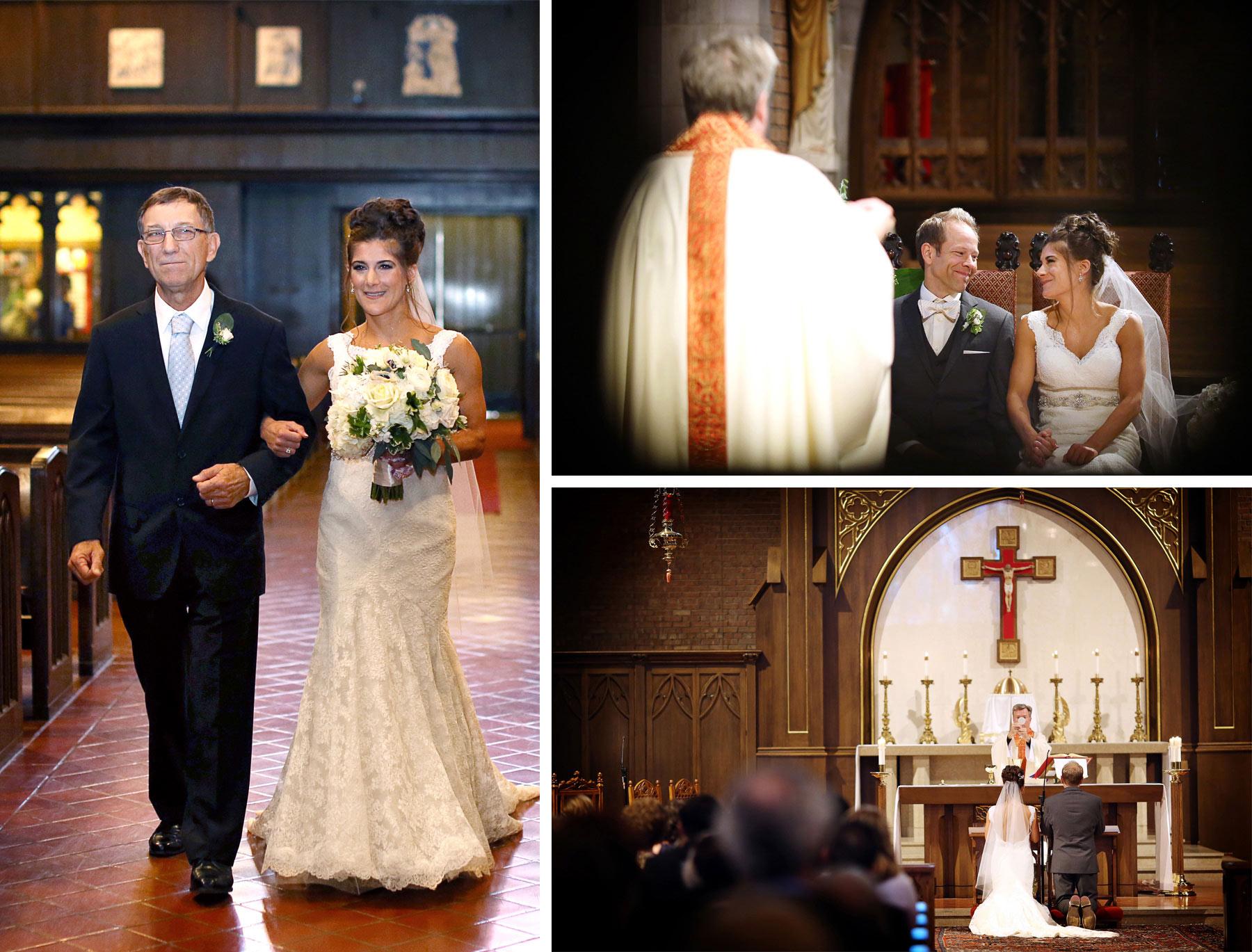 06-Saint-Louis-Park-Minnesota-Wedding-Photographer-by-Andrew-Vick-Photography-Fall-Autumn-Holy-Family-Catholic-Church-Ceremony-Bride-Groom-Father-Parents-Processional-Vows-Prayer-Paula-and-Jason.jpg