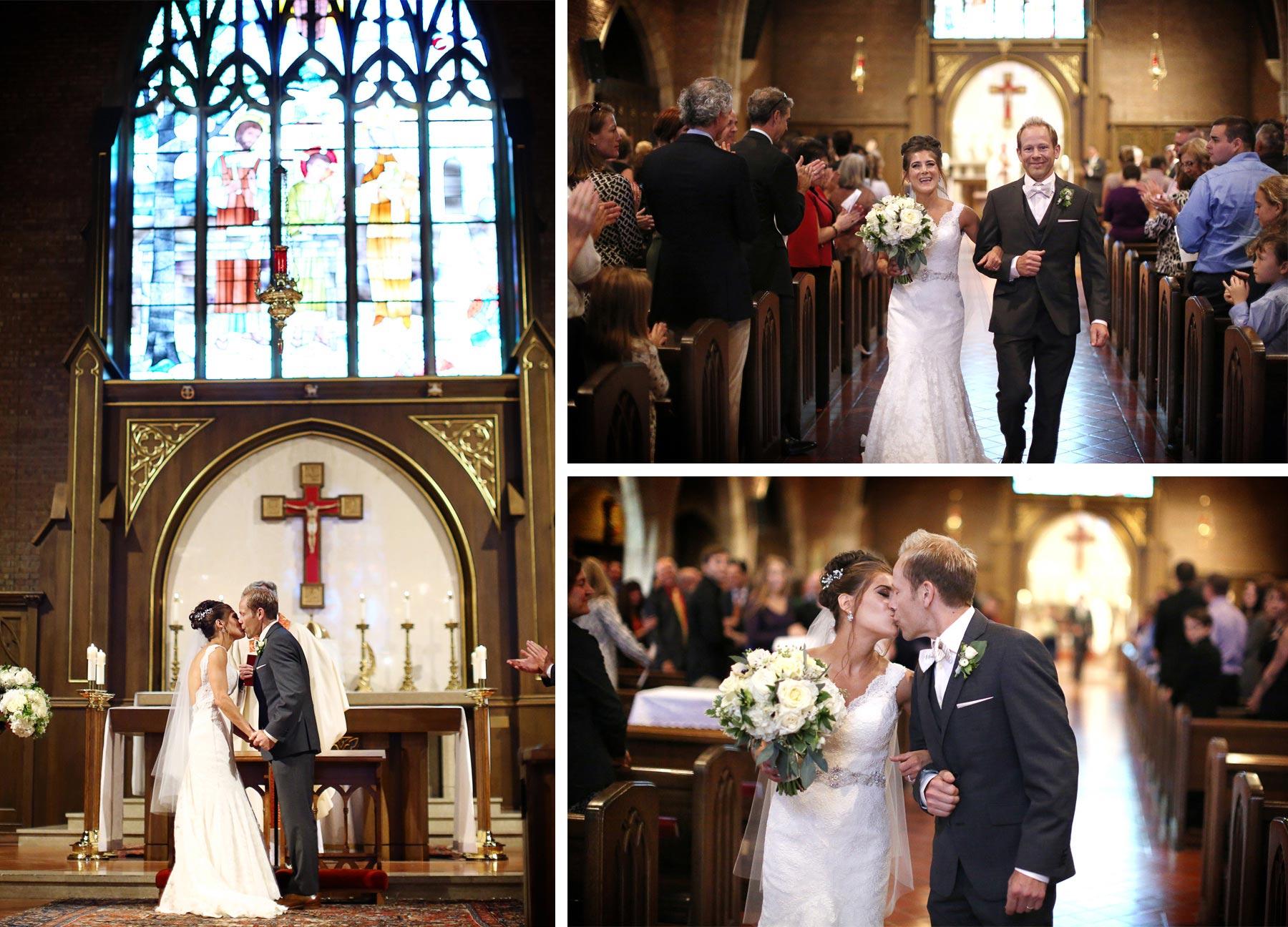 08-Saint-Louis-Park-Minnesota-Wedding-Photographer-by-Andrew-Vick-Photography-Fall-Autumn-Holy-Family-Catholic-Church-Ceremony-Bride-Groom-Kiss-Recessional-Paula-and-Jason.jpg
