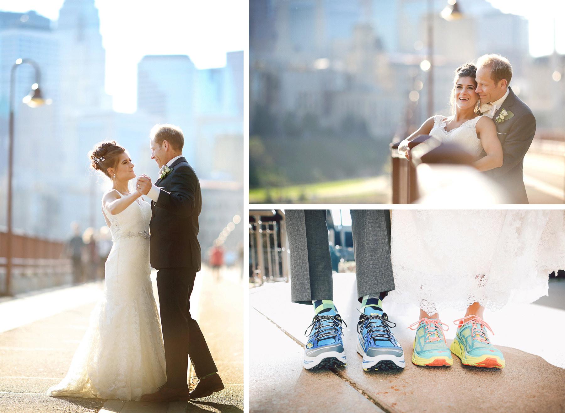 16-Minneapolis-Minnesota-Wedding-Photographer-by-Andrew-Vick-Photography-Fall-Autumn-Bride-Groom-Stone-Arch-Bridge-Dance-Embrace-Running-Shoes-Vintage-Paula-and-Jason.jpg