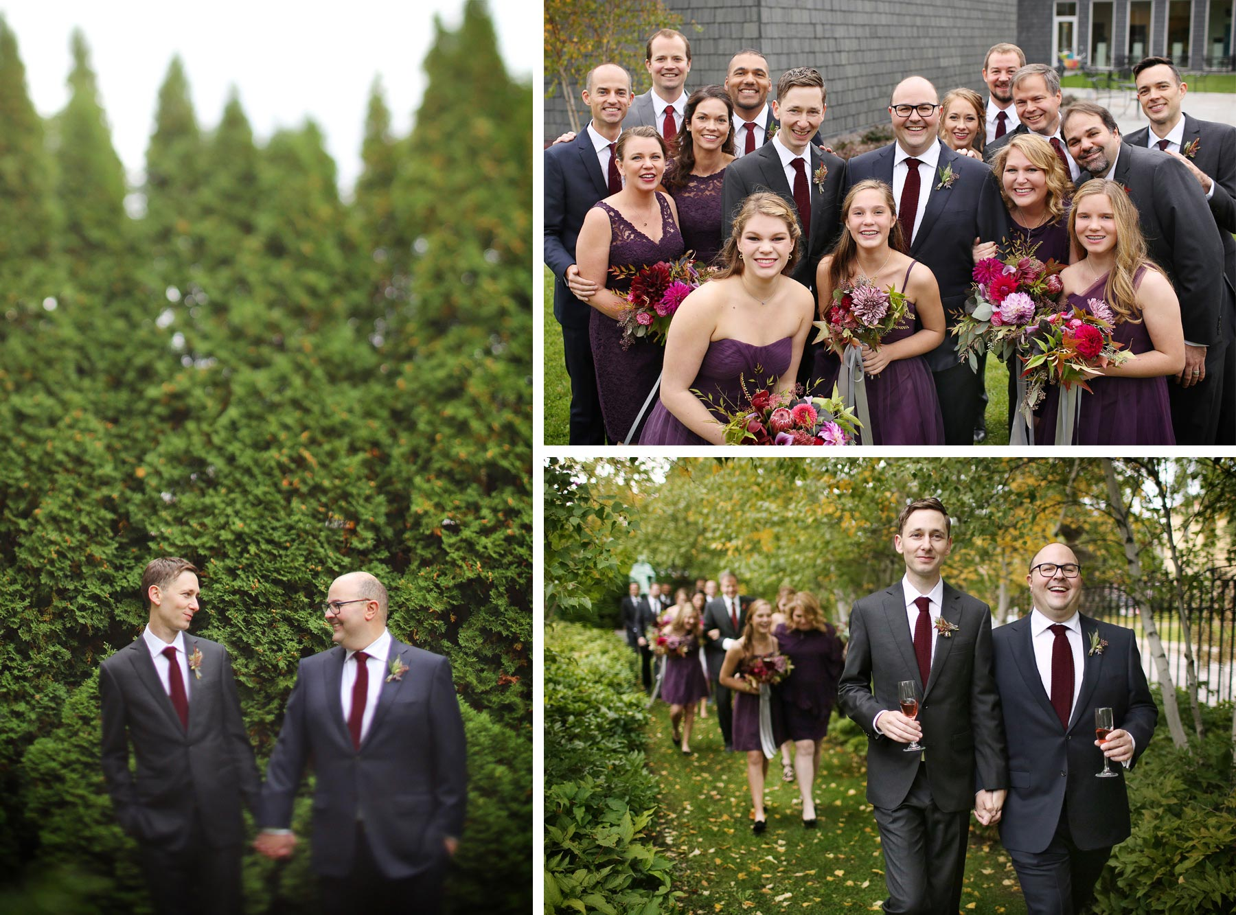 09-Minneapolis-Minnesota-Wedding-Photographer-by-Andrew-Vick-Photography-Fall-Autumn-American-Swedish-Institute-Groom-Bridesmaids-Groomsmen-Champagne-Holding-Hands-Tilt-Shift-Ben-and-Adam.jpg