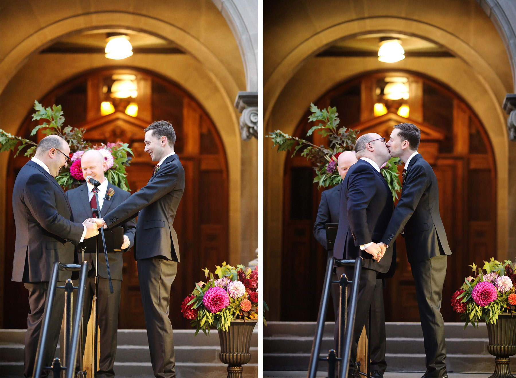 15-Minneapolis-Minnesota-Wedding-Photographer-by-Andrew-Vick-Photography-Fall-Autumn-American-Swedish-Institute-Ceremony-Groom-Kiss-Ben-and-Adam.jpg