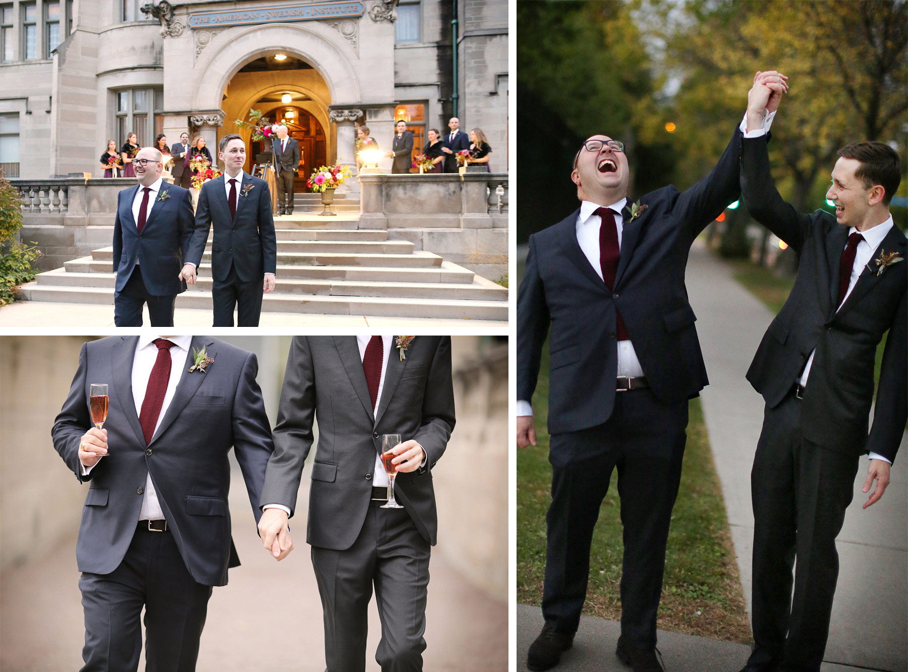16-Minneapolis-Minnesota-Wedding-Photographer-by-Andrew-Vick-Photography-Fall-Autumn-American-Swedish-Institute-Ceremony-Groom-Recessional-Pink-Champagne-Celebration-Ben-and-Adam.jpg