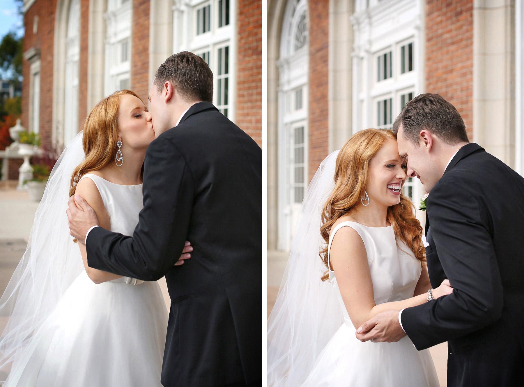 08-Minneapolis-Minnesota-Wedding-Photographer-by-Andrew-Vick-Photography-Fall-Autumn-Calhoun-Beach-Club-First-Look-Meeting-Bride-Groom-Terrace-Kiss-Kristy-and-Jack.jpg
