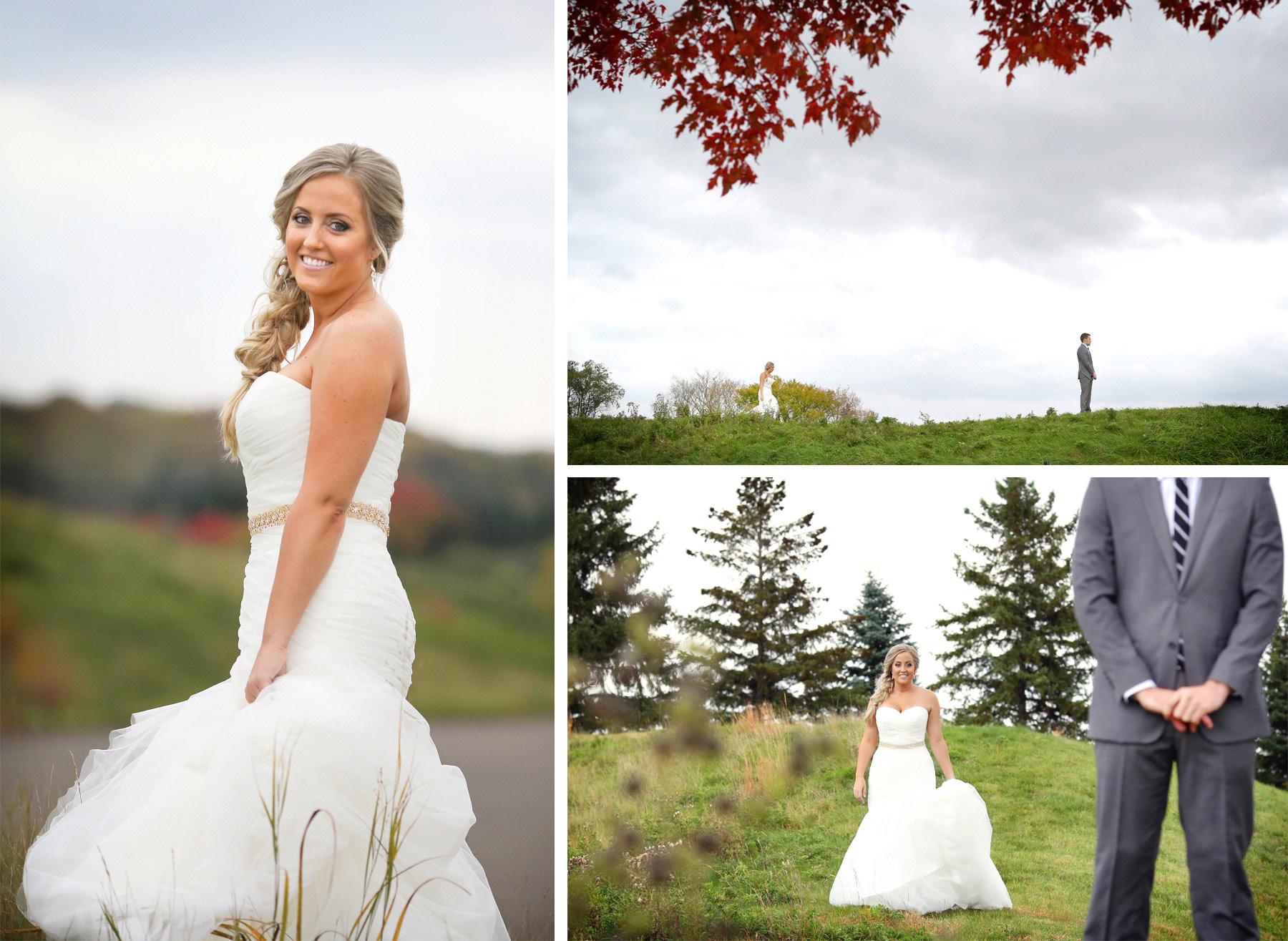 04-Stillwater-Minnesota-Wedding-Photographer-by-Andrew-Vick-Photography-Fall-Autumn-StoneRidge-Golf-Club-First-Meeting-Look-Bride-Groom-Hills-Field-Micaela-and-Derek.jpg