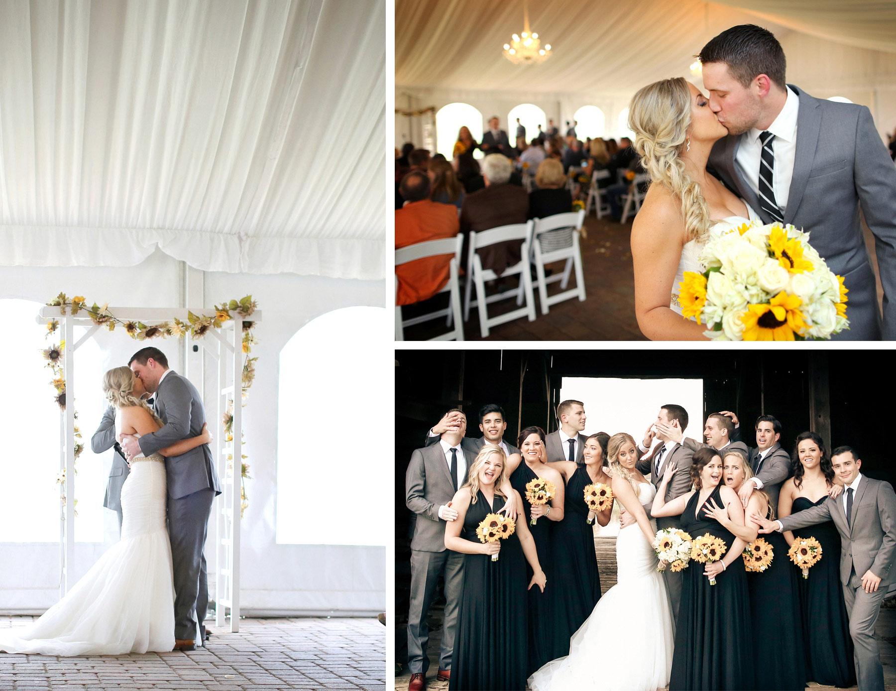 18-Stillwater-Minnesota-Wedding-Photographer-by-Andrew-Vick-Photography-Fall-Autumn-StoneRidge-Golf-Club-Ceremony-Bride-Groom-Kiss-Recessional-Flowers-Sunflowers-Roses-Bridal-Party-Bridesmaids-Groomsmen-Barn-Vintage-Micaela-and-Derek.jpg