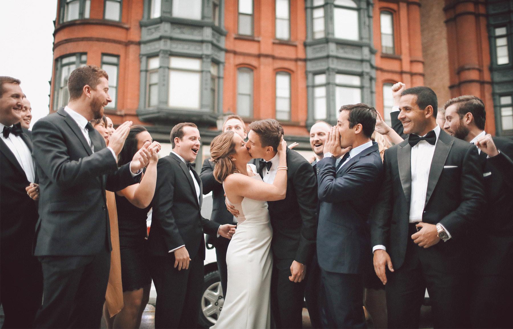 16-Saint-Paul-Minnesota-Wedding-Photographer-by-Andrew-Vick-Photography-Fall-Autumn-Bride-Groom-Bridal-Party-Groomsmen-Bridesmaids-Kiss-Vintage-Kathryn-and-Sam.jpg