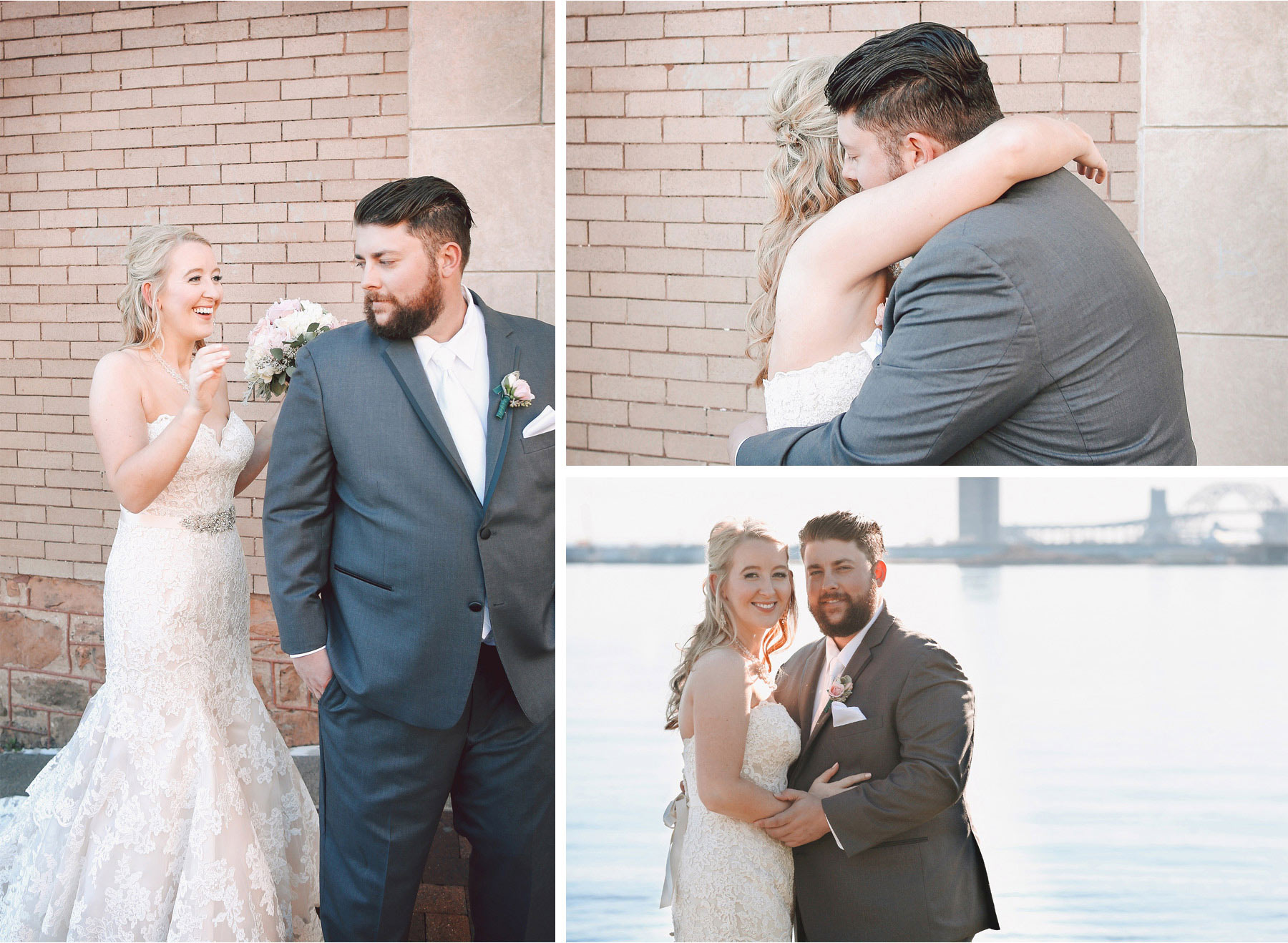 07-Duluth-Minnesota-Wedding-Photographer-by-Andrew-Vick-Photography-Fall-Autumn-Greysolon-Ballroom-First-Meeting-Look-Bride-Groom-Dress-Embrace-Lake-Superior-Vintage-Molly-and-Carson.jpg