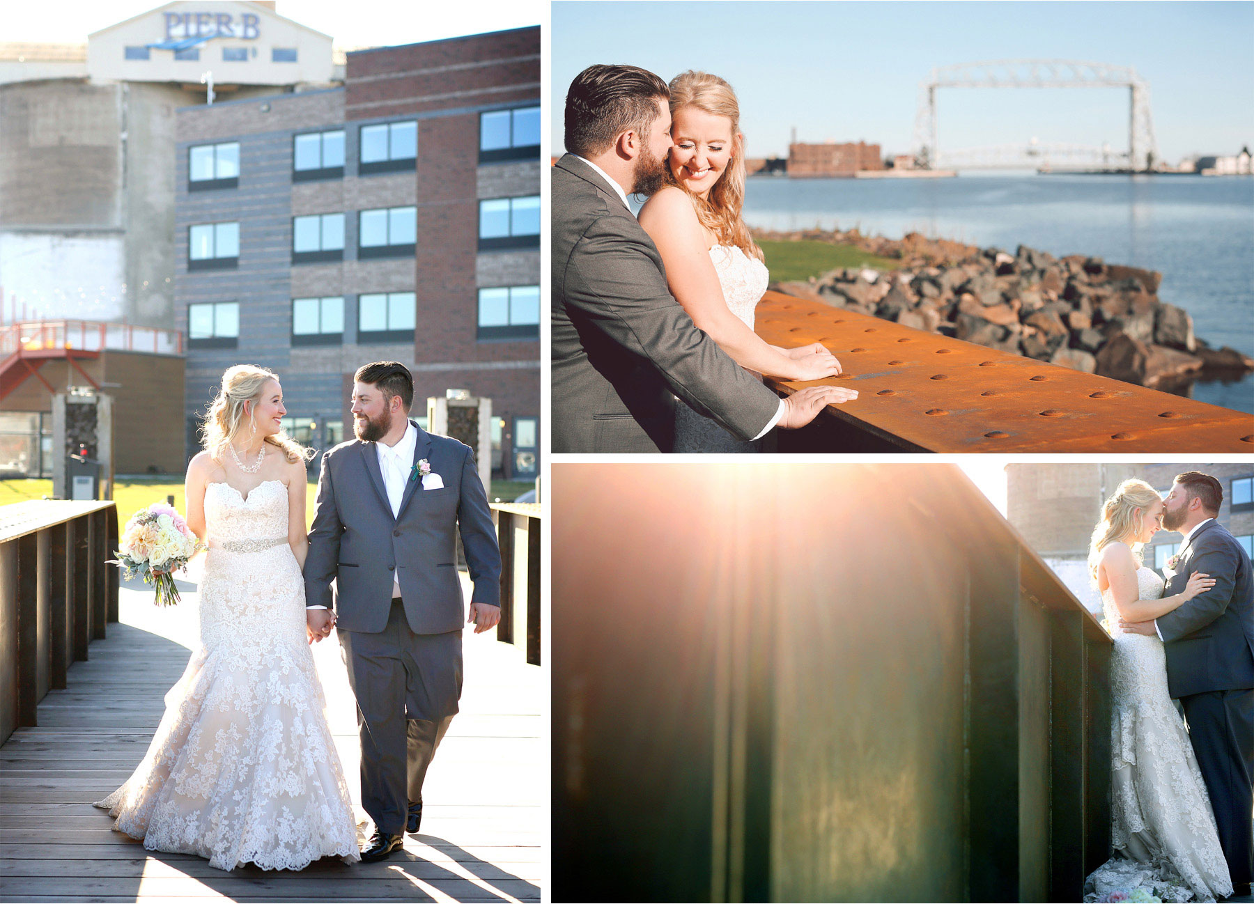 09-Duluth-Minnesota-Wedding-Photographer-by-Andrew-Vick-Photography-Fall-Autumn-Lake-Superior-Aerial-Lift-Bridge-First-Meeting-Look-Bride-Groom-Kiss-Embrace-Vintage-Molly-and-Carson.jpg