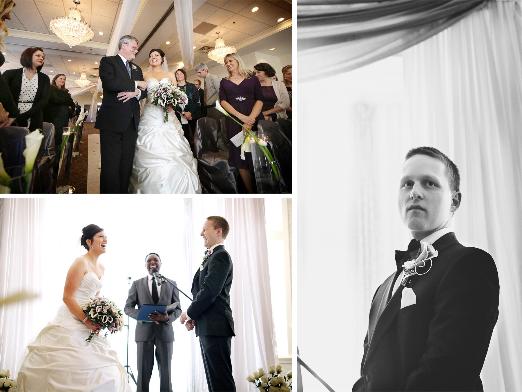 09-Eden-Prairie-Minnesota-Wedding-Photographer-by-Andrew-Vick-Photography-Fall-Autumn-Bearpath-Golf-Country-Club-Ceremony-Bride-Groom-Father-Parents-Processional-Vows-Black-and-White-Brittany-and-Ryan.jpg