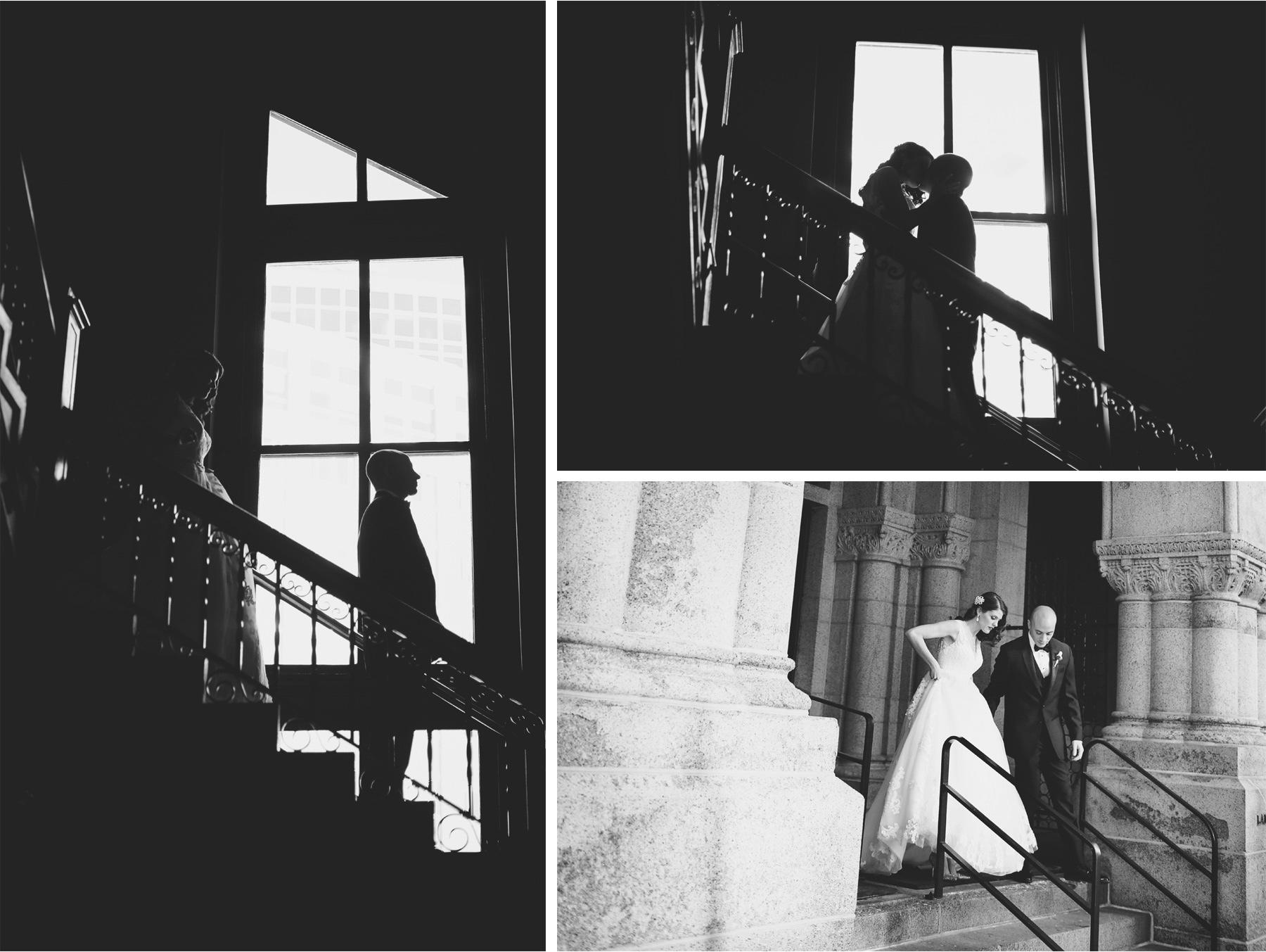 07-Saint-Paul-Minnesota-Wedding-Photographer-by-Andrew-Vick-Photography-Winter-New-Years-Eve-Embassy-Suites-First-Meeting-Look-Bride-Groom-Kiss-Staircase-Stairs-Black-and-White-Emily-and-Michael.jpg