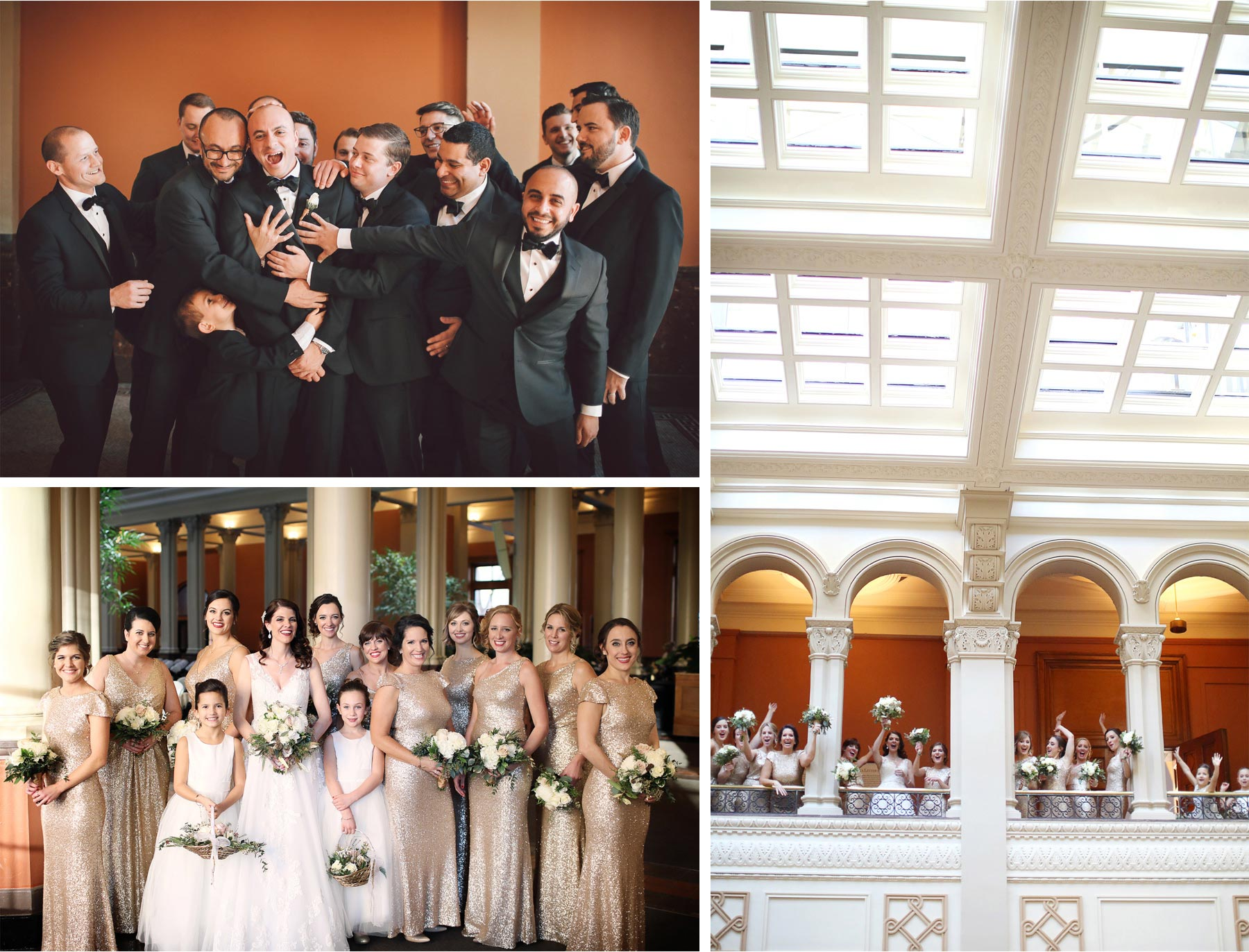 09-Saint-Paul-Minnesota-Wedding-Photographer-by-Andrew-Vick-Photography-Winter-New-Years-Eve-Landmark-Center-Bride-Groom-Bridesmaids-Groomsmen-Balcony-Vintage-Emily-and-Michael.jpg