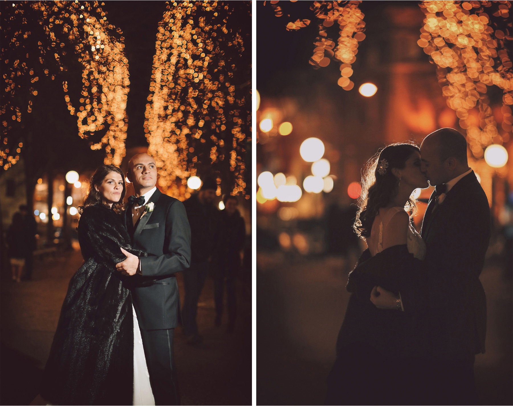 17-Saint-Paul-Minnesota-Wedding-Photographer-by-Andrew-Vick-Photography-Winter-New-Years-Eve-Landmark-Center-Bride-Groom-Kiss-Fur-Coat-Christmas-Lights-Night-Emily-and-Michael.jpg