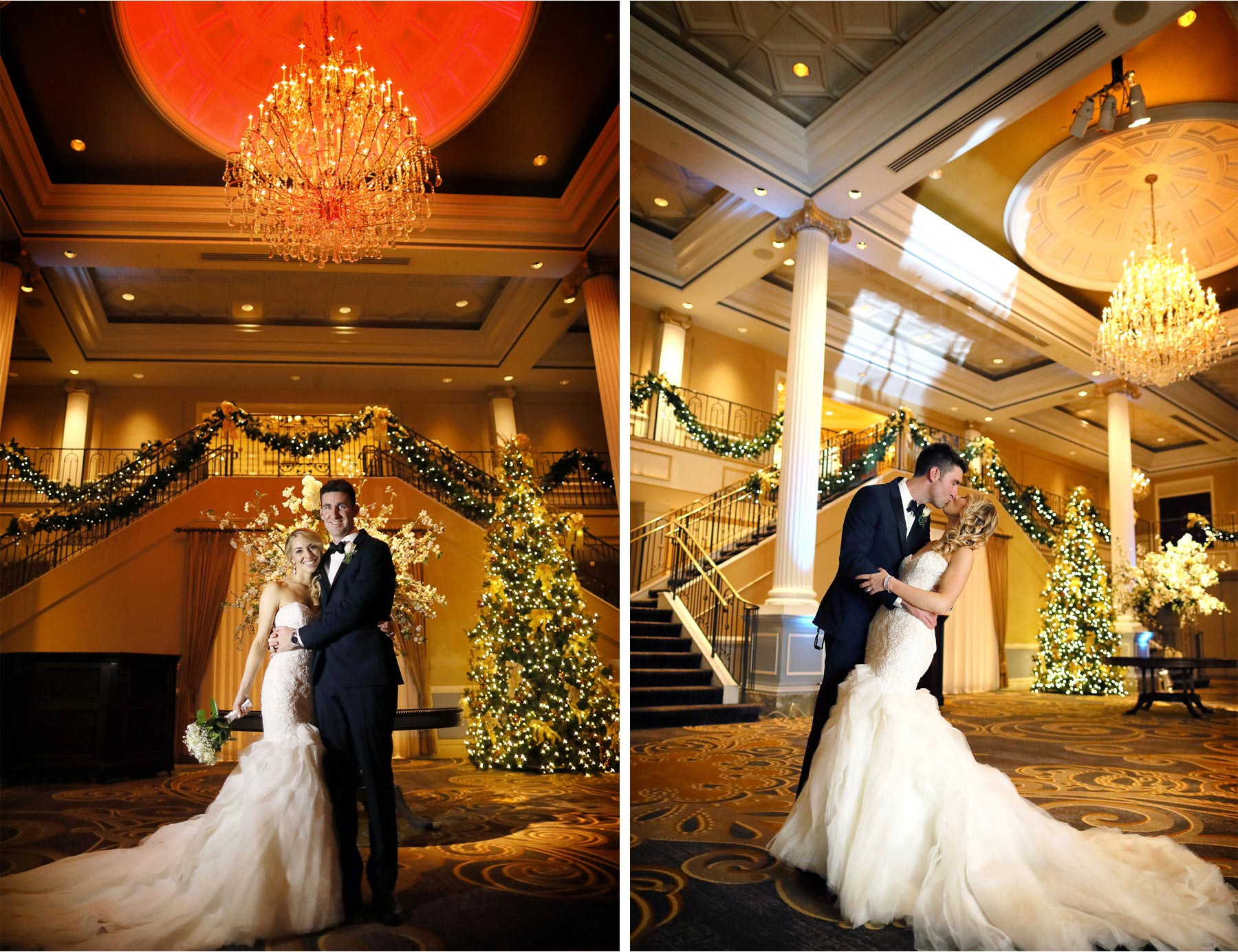 19-Somerset-New-Jersey-Wedding-Photographer-by-Andrew-Vick-Photography-Winter-Palace-At-Somerset-Park-Reception-Bride-Groom-Kiss-Christmas-Tree-Decorations-Alexia-and-Justin.jpg