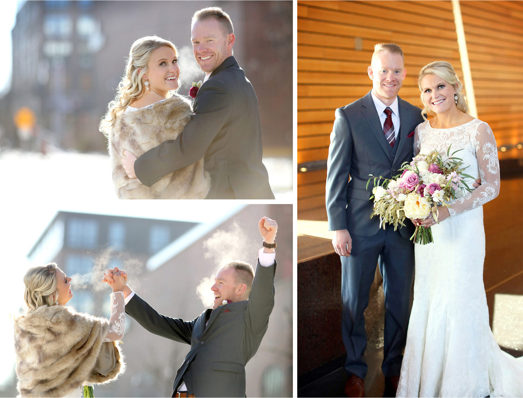 08-Minneapolis-Minnesota-Wedding-Photographer-by-Andrew-Vick-Photography-Winter-McNamara-Alumni-Center-First-Meeting-Look-Bride-Groom-Flowers-Excitement-Embrace-Fur-Shrug-Brittany-and-Joseph.jpg