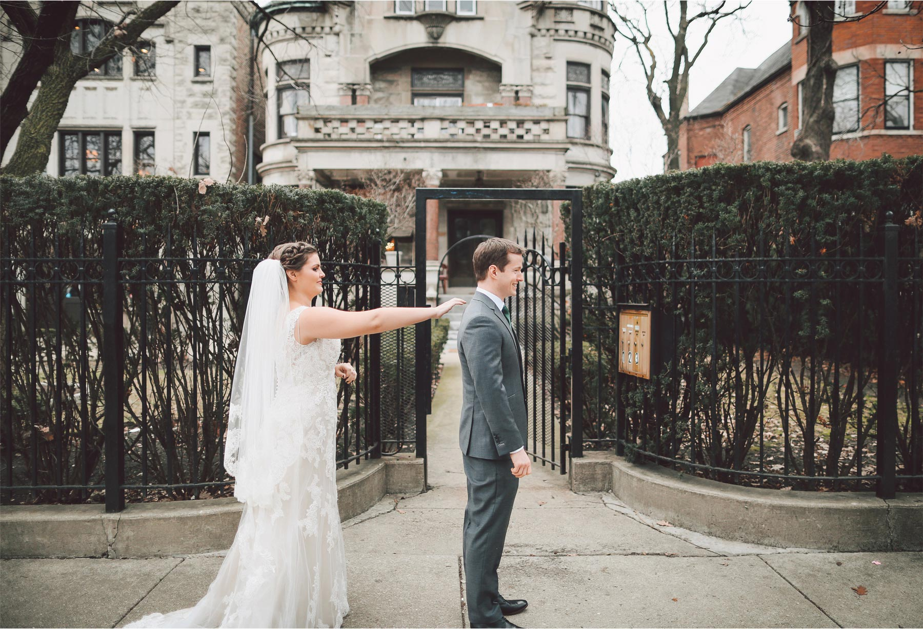 05-Chicago-Illinois-Wedding-Photographer-by-Andrew-Vick-Photography-Winter-Stan-Mansion-First-Meeting-Look-Bride-Groom-Vintage-Colleen-and-Mike.jpg