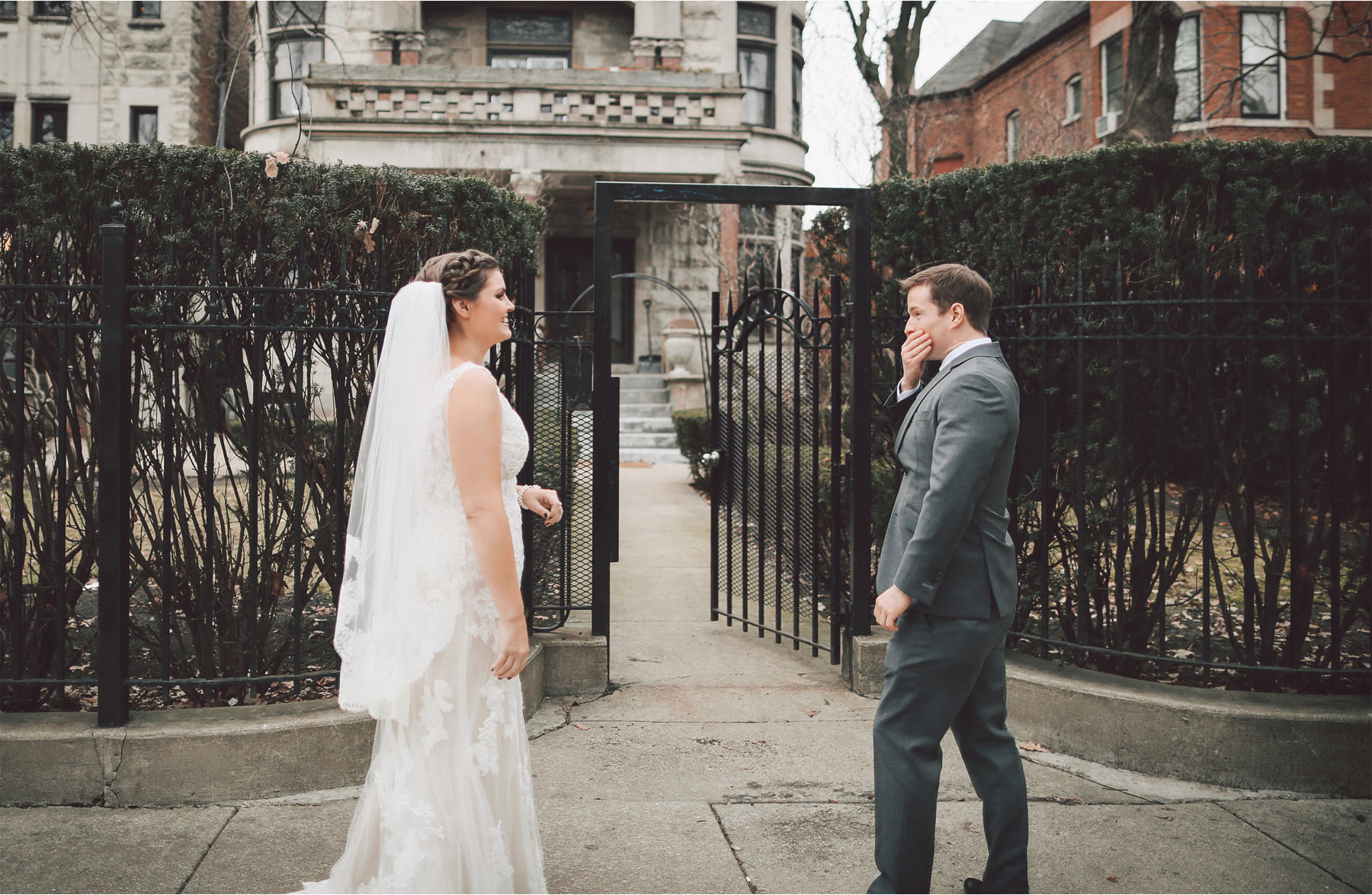 06-Chicago-Illinois-Wedding-Photographer-by-Andrew-Vick-Photography-Winter-Stan-Mansion-First-Meeting-Look-Bride-Groom-Surprised-Vintage-Colleen-and-Mike.jpg