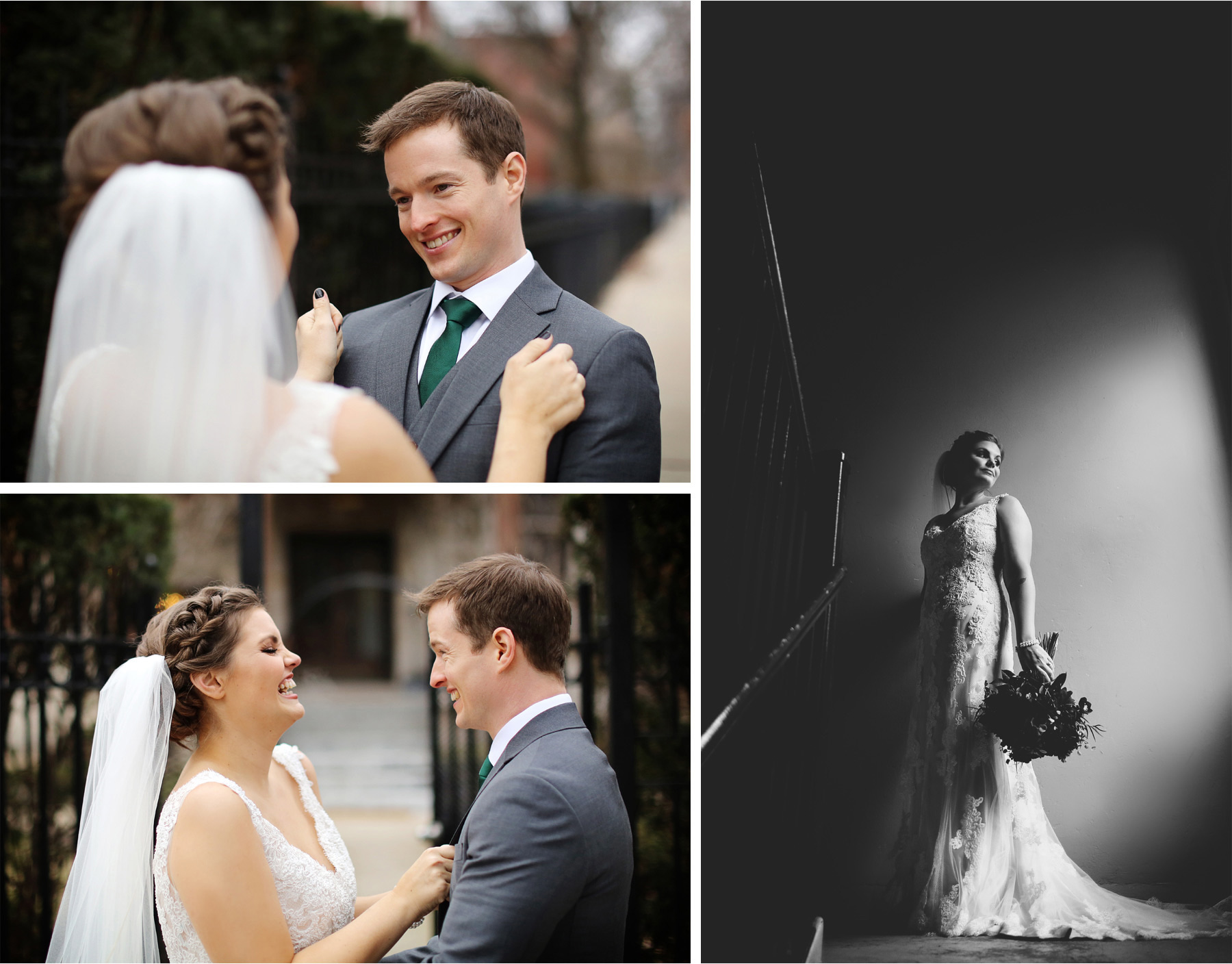 09-Chicago-Illinois-Wedding-Photographer-by-Andrew-Vick-Photography-Winter-Stan-Mansion-First-Meeting-Look-Bride-Groom-Black-and-White-Colleen-and-Mike.jpg