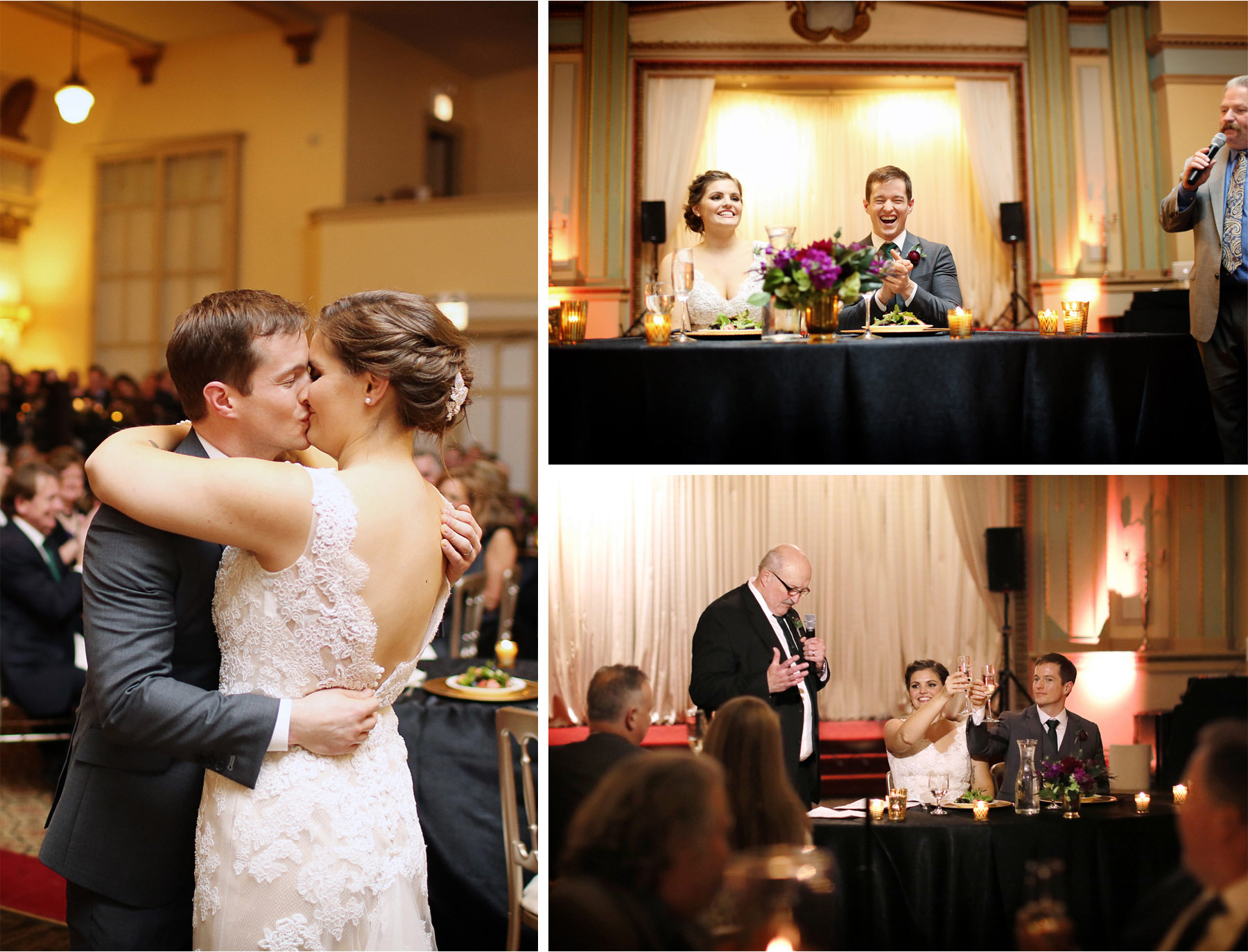 20-Chicago-Illinois-Wedding-Photographer-by-Andrew-Vick-Photography-Winter-Stan-Mansion-Reception-Bride-Groom-Kiss-Father-Guests-Laughter-Champagne-Speeches-Colleen-and-Mike.jpg