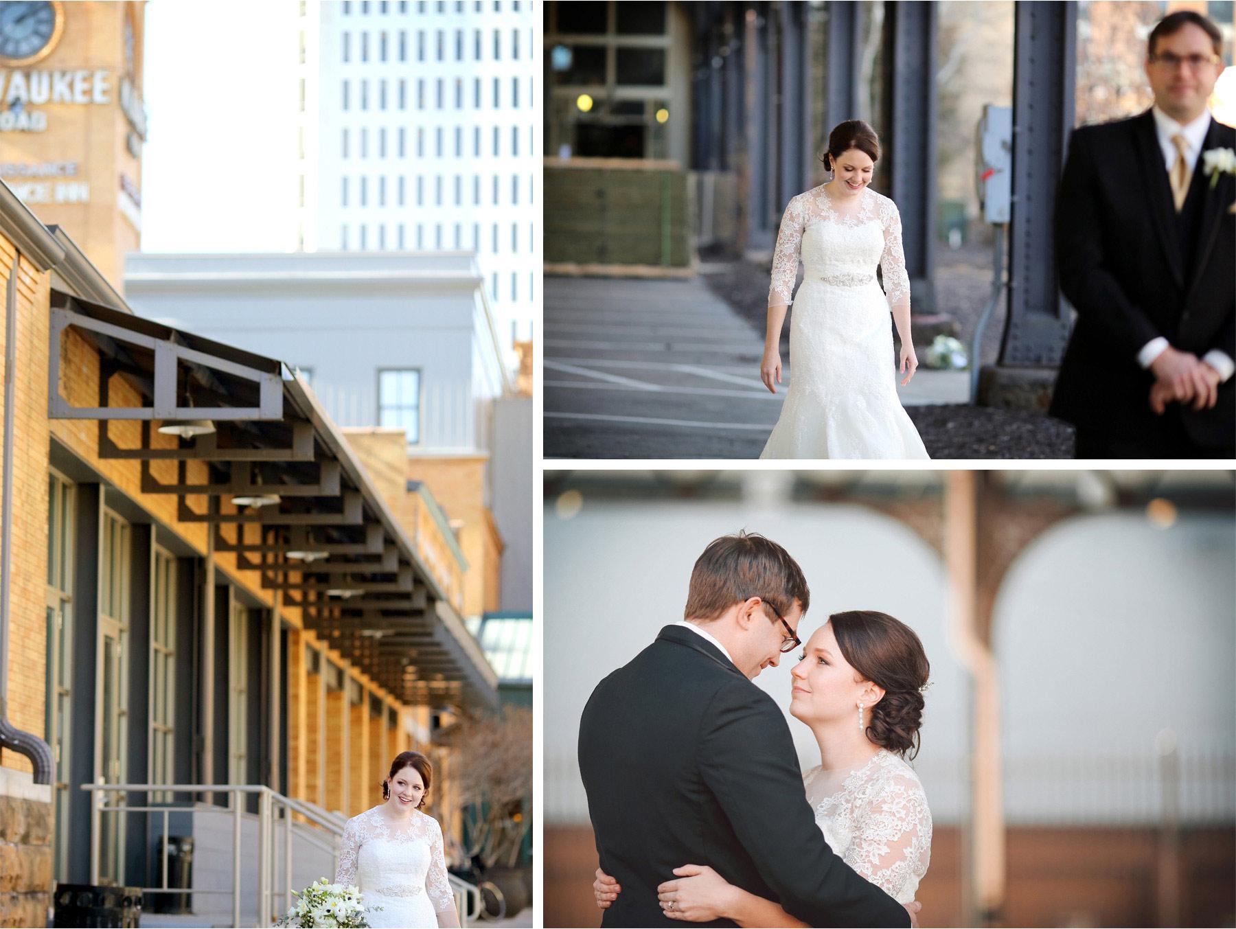 04-Minneapolis-Minnesota-Wedding-Photographer-by-Andrew-Vick-Photography-Winter-Renaissance-Hotel-First-Meeting-Look-Bride-Groom-Depot-Vintage-Sara-and-Rob.jpg