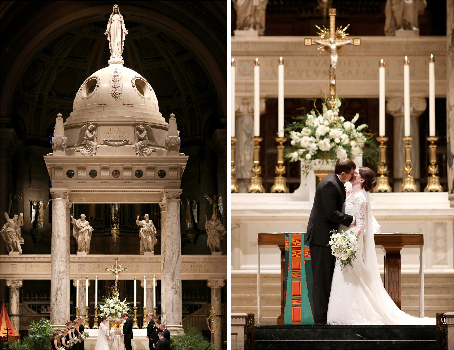 14-Minneapolis-Minnesota-Wedding-Photographer-by-Andrew-Vick-Photography-Winter-Basilica-of-Saint-Mary-Church-Bride-Groom-Prayer-Kiss-Sara-and-Rob.jpg