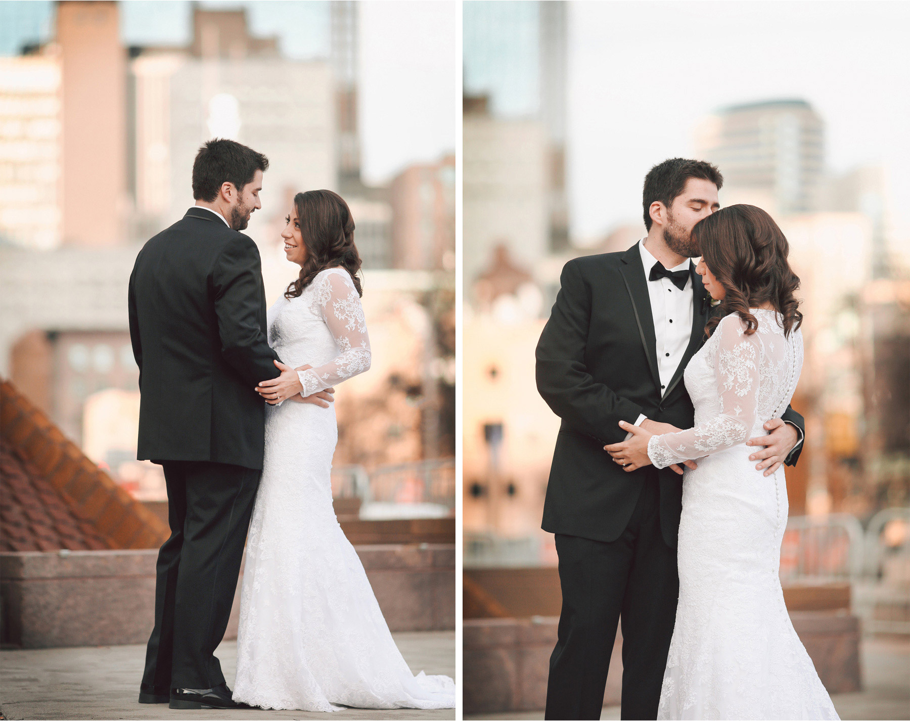 05-Minneapolis-Minnesota-Wedding-Photographer-by-Andrew-Vick-Photography-Winter-Millennium-Hotel-First-Meeting-Look-Bride-Groom-Downtown-Kiss-Vintage-Amy-and-Jordan.jpg